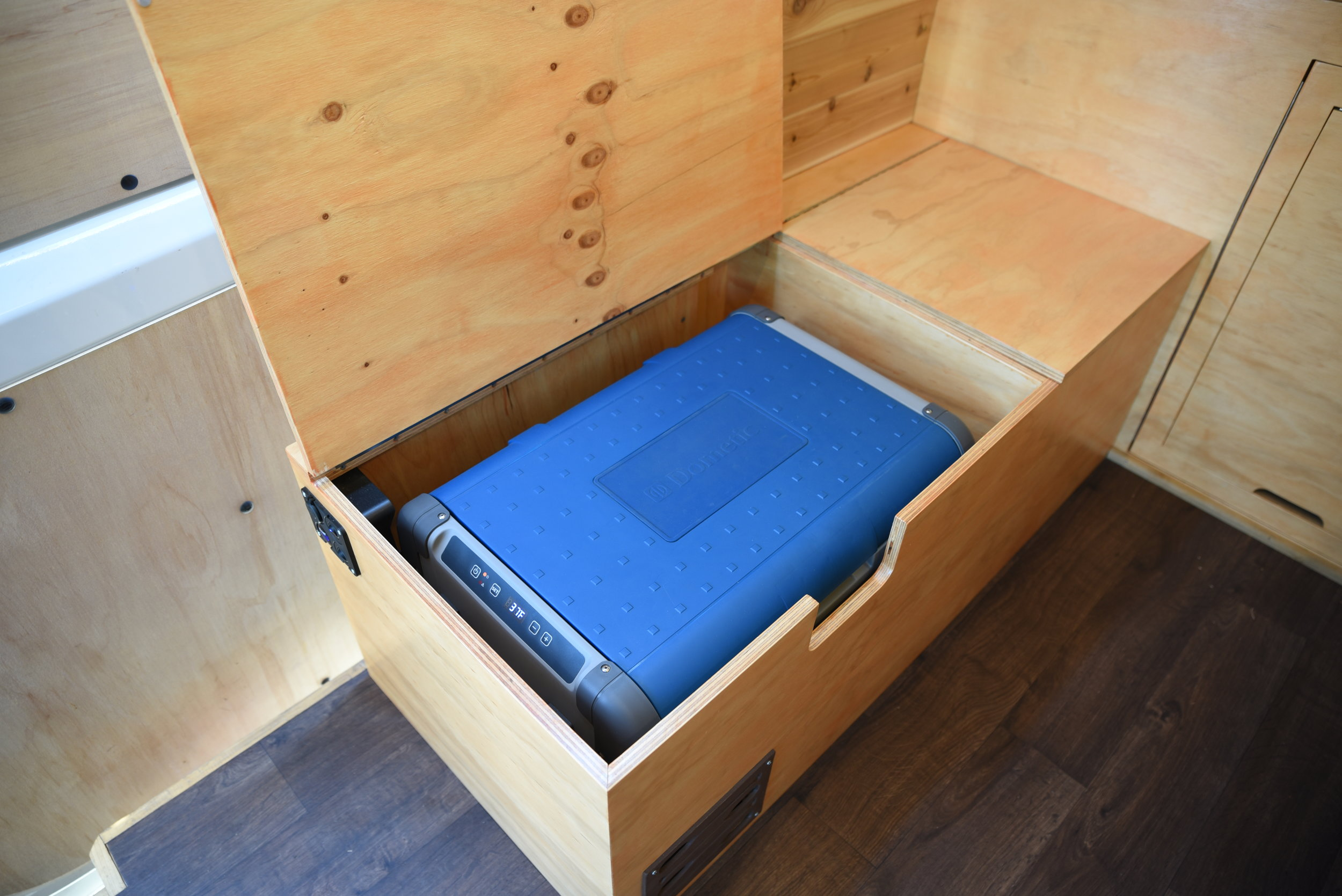 How We Built A Bench To Store Our Dometic Fridge In Our Sprinter Van The Vanimals
