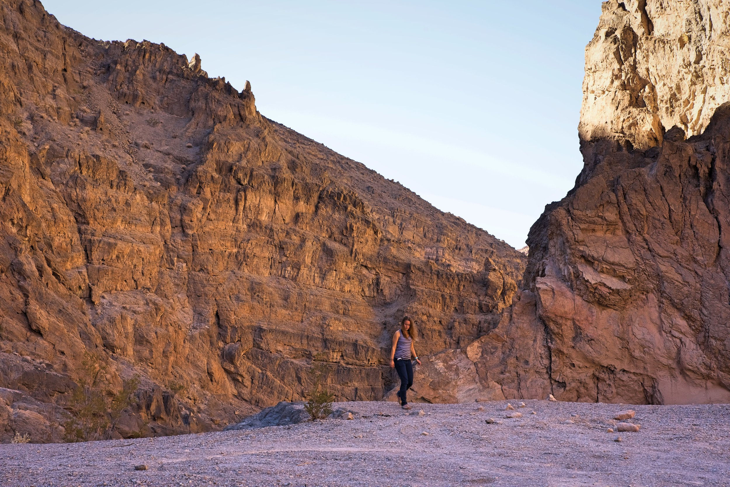 Kaylee walking by the road in Titus Canyon.
