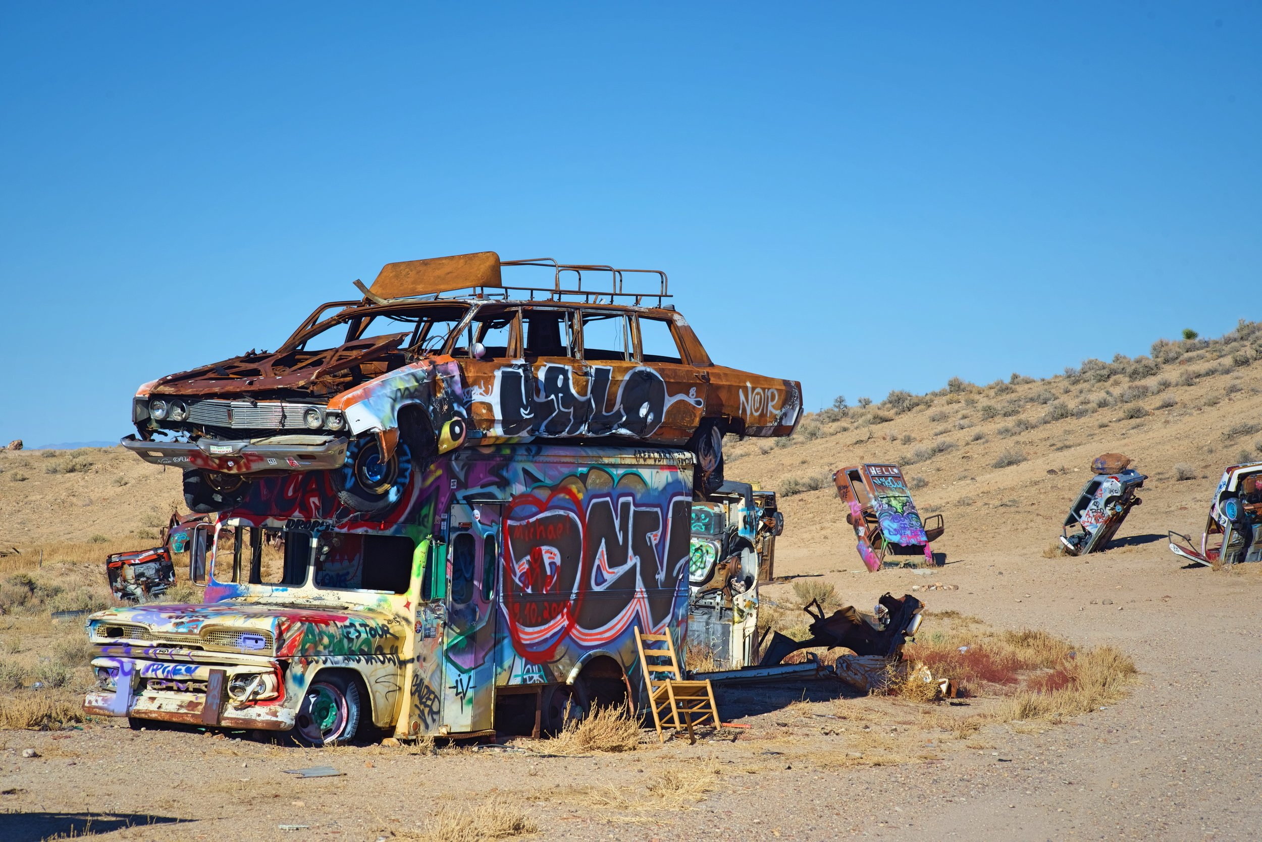 This stacked bus and limo are probably one of the coolest pieces of art in the International Car Forest of the Last Church near Goldfield, Nevada.