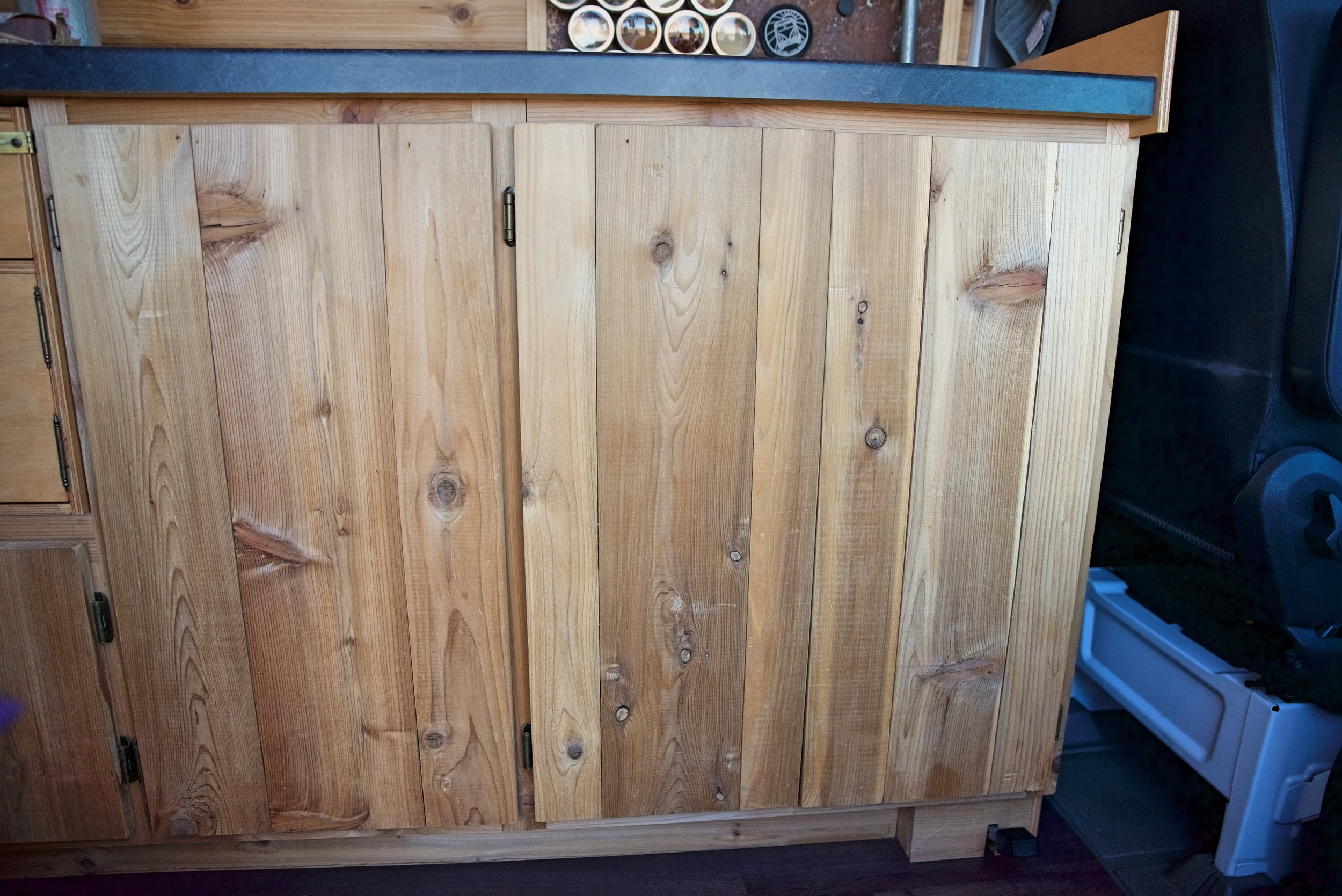 The  hinges  we picked are mostly hidden, so they have a very low, minimal profile on our cabinetry.