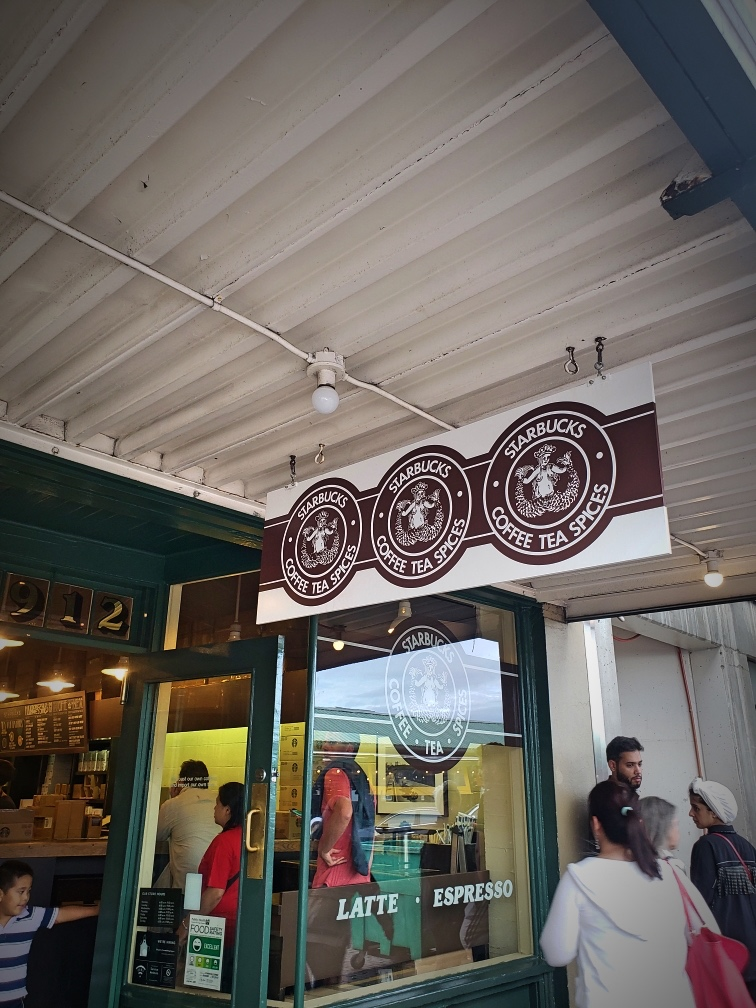 The first Starbucks at Pikes Place Market in Seattle, which we visited on a bike ride.