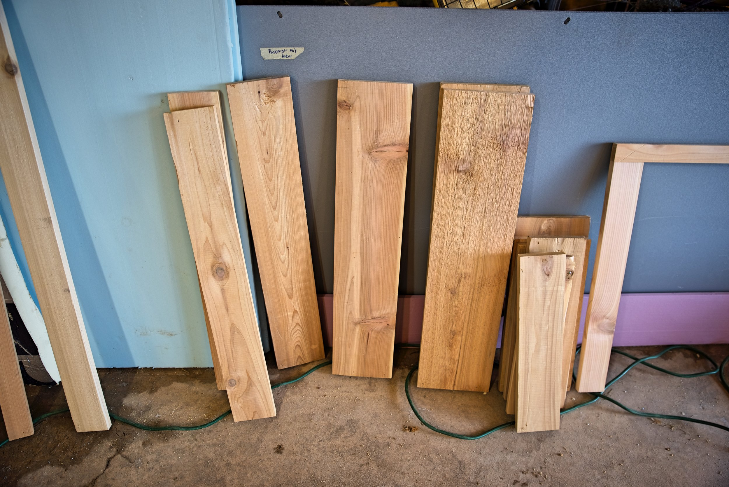 Here all the pieces of the cabinet doors ready to be joined together.