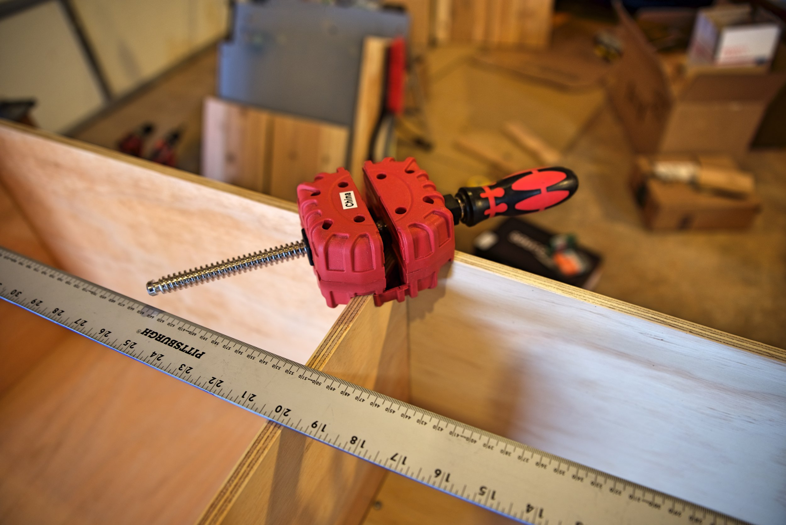Corner clamps helped us so much when joining 90-degree angles for our cabinetry.