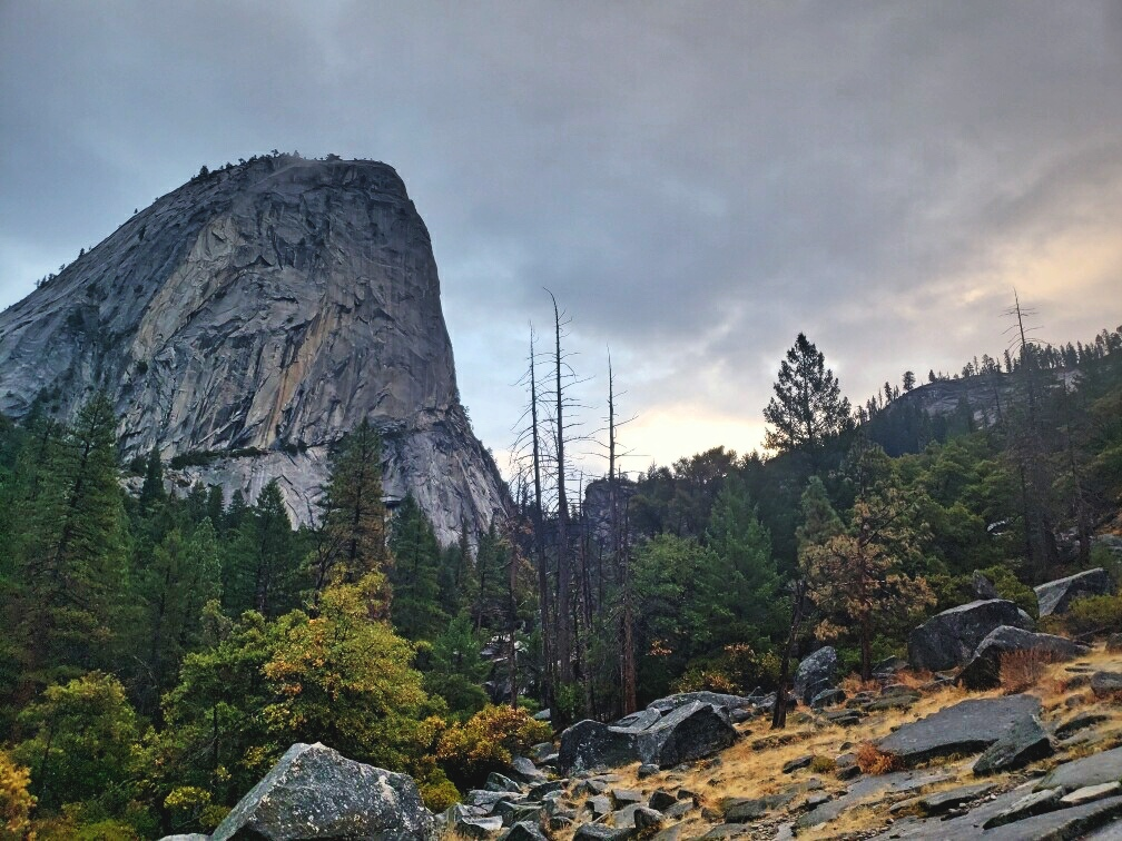 This was as close to a sunrise as we got while hiking up to Half Dome