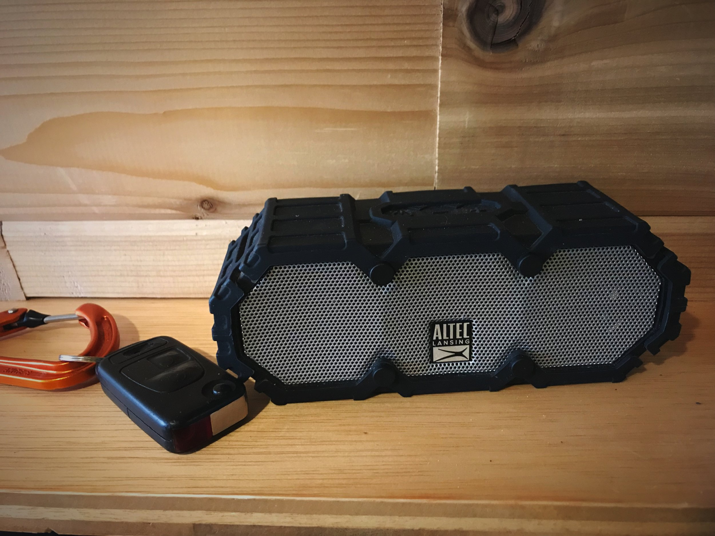 We like this compact little Bluetooth speaker. We use it all the time for listening to music or watching movies.