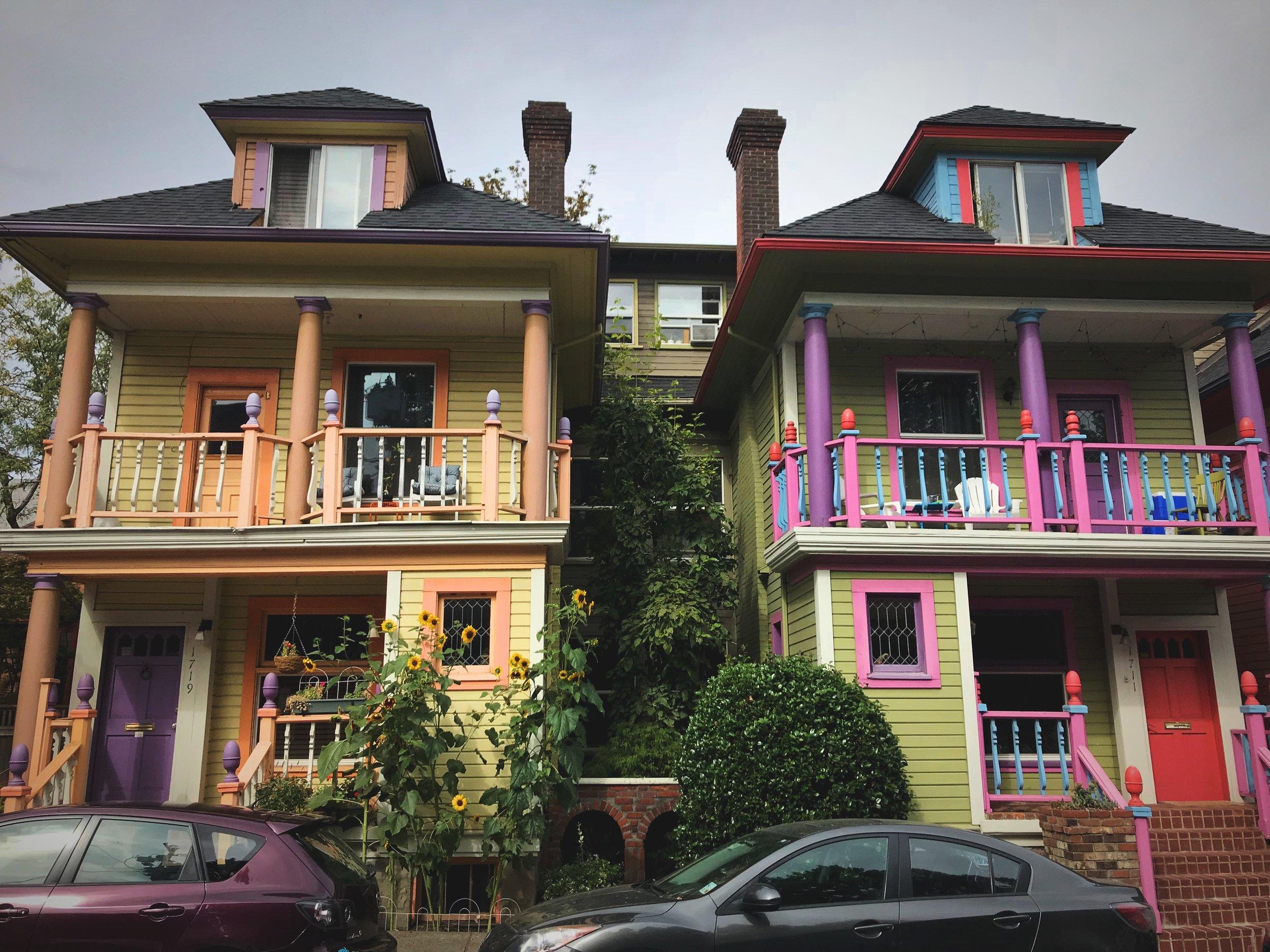 Colorful houses in a funky neighborhood near Portland's International Rose Test Garden.