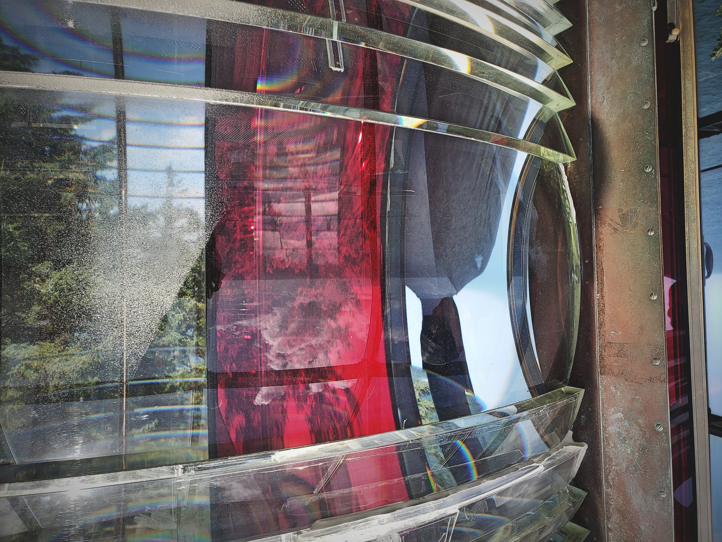 The original Fresnel lens at the top of the Cape Meares Lighthouse.