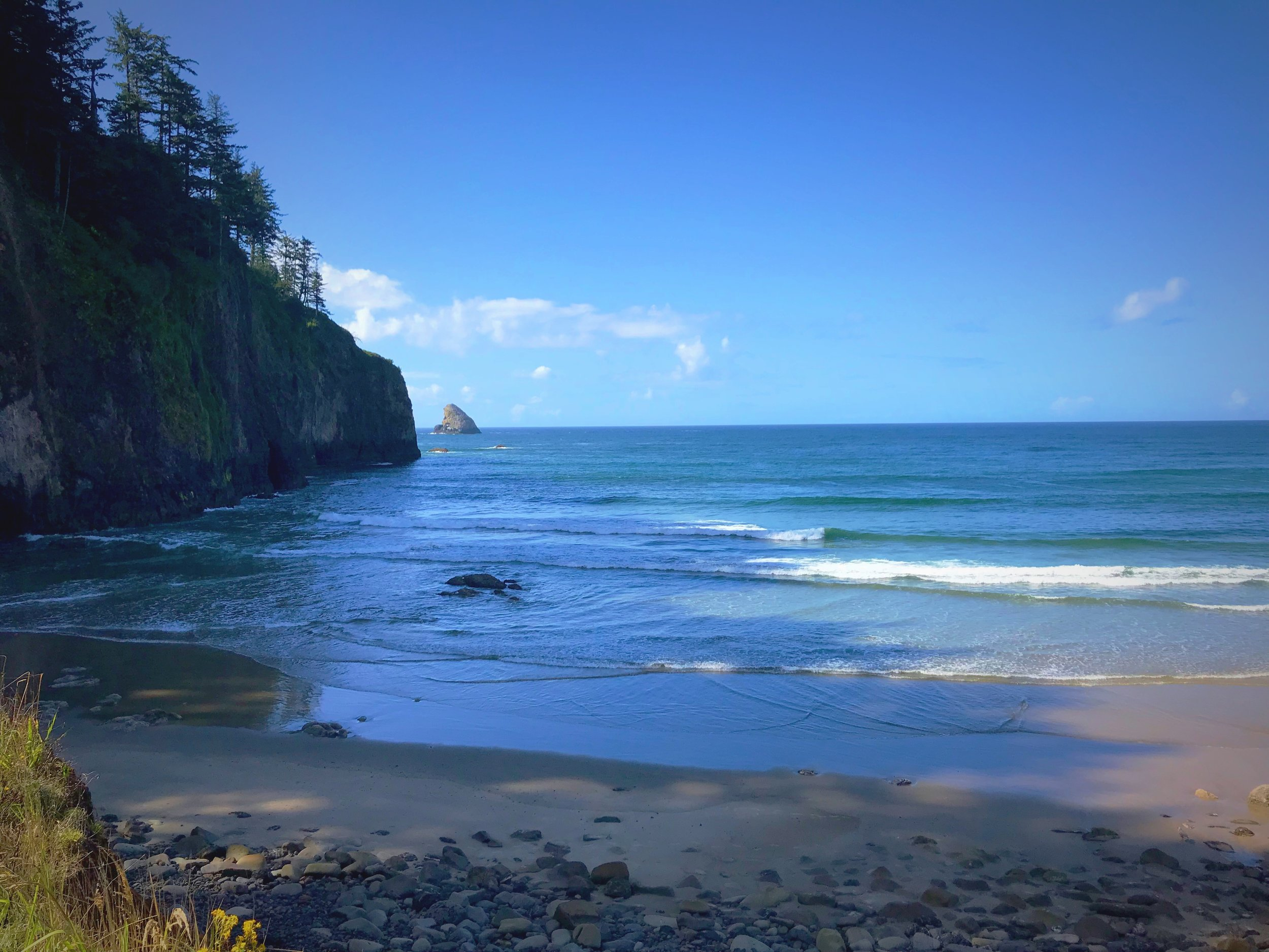 The rocky headland and sea stacks at Cape Meares State Park on the Oregon Coast.