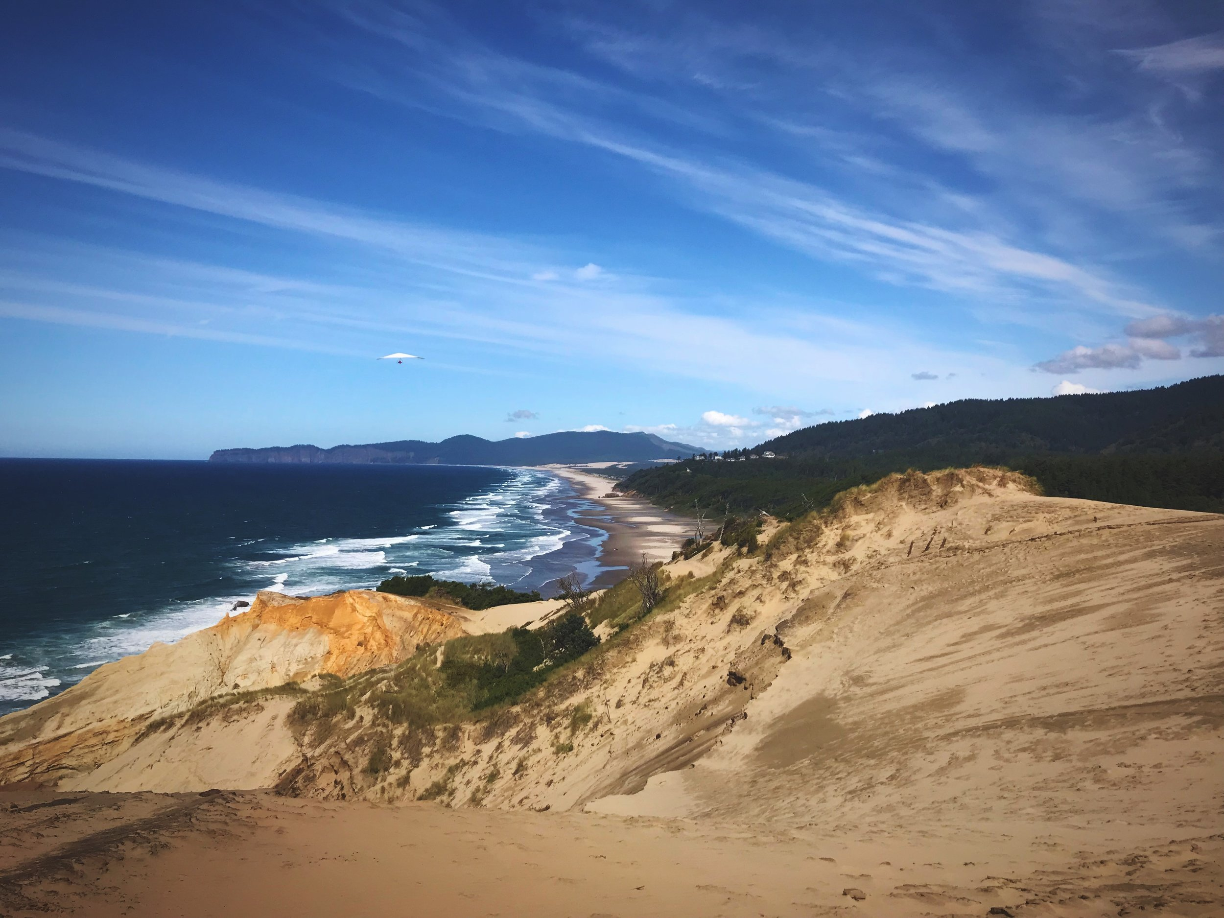 Looking to the North from Cape Kiwanda, over more sandstone and sand dunes.
