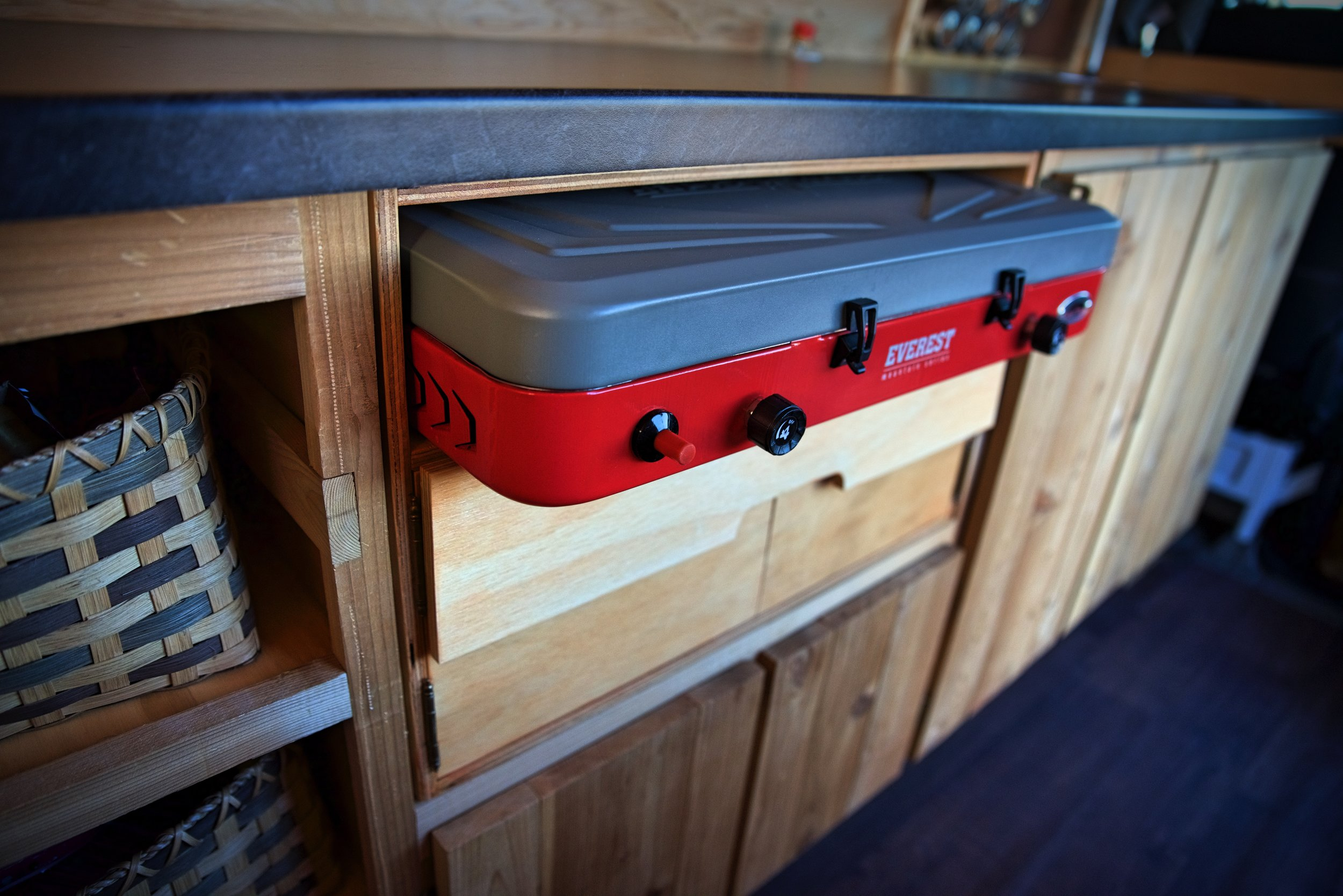 The top compartment of the chuck box is for storing our stove, and we built it to the precise dimensions of this stove.