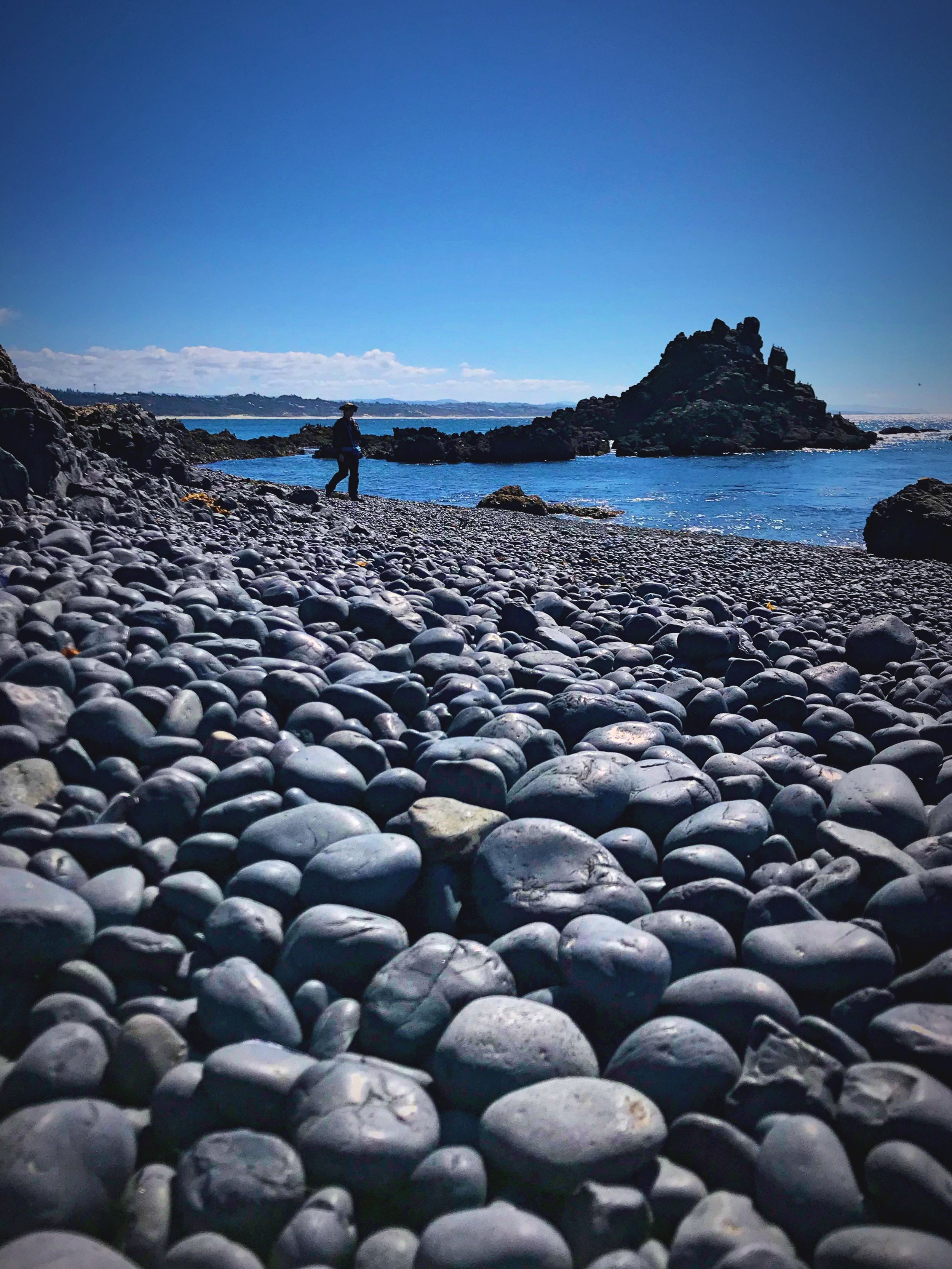 Walking on the cobble beach can be a little difficult.