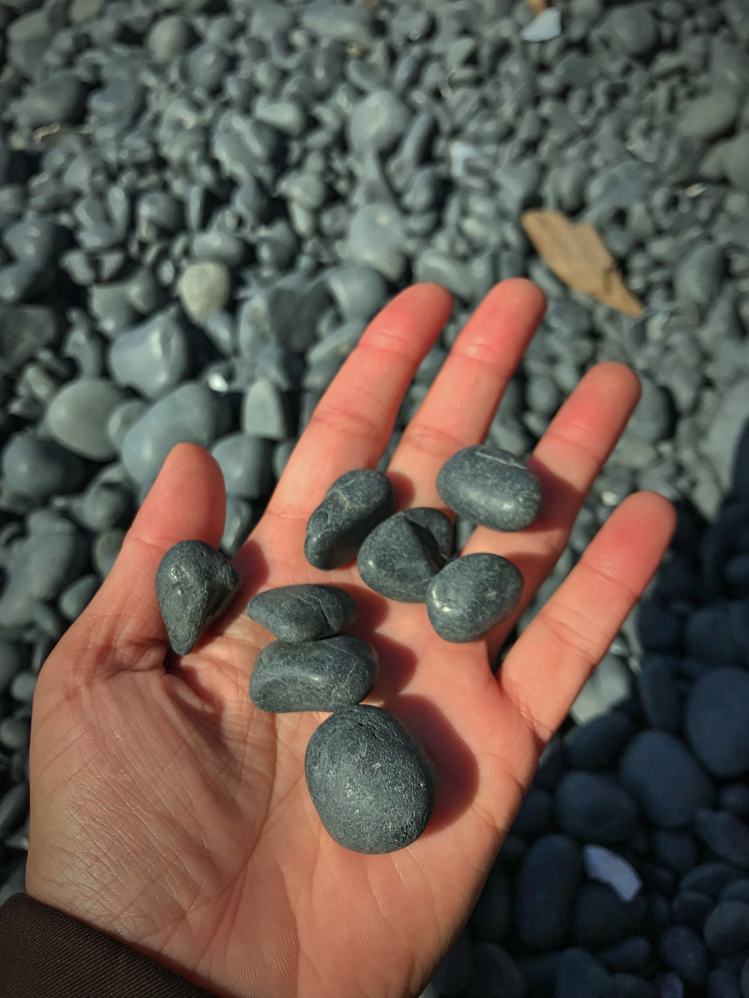 The entire beach is made of this polished basalt.