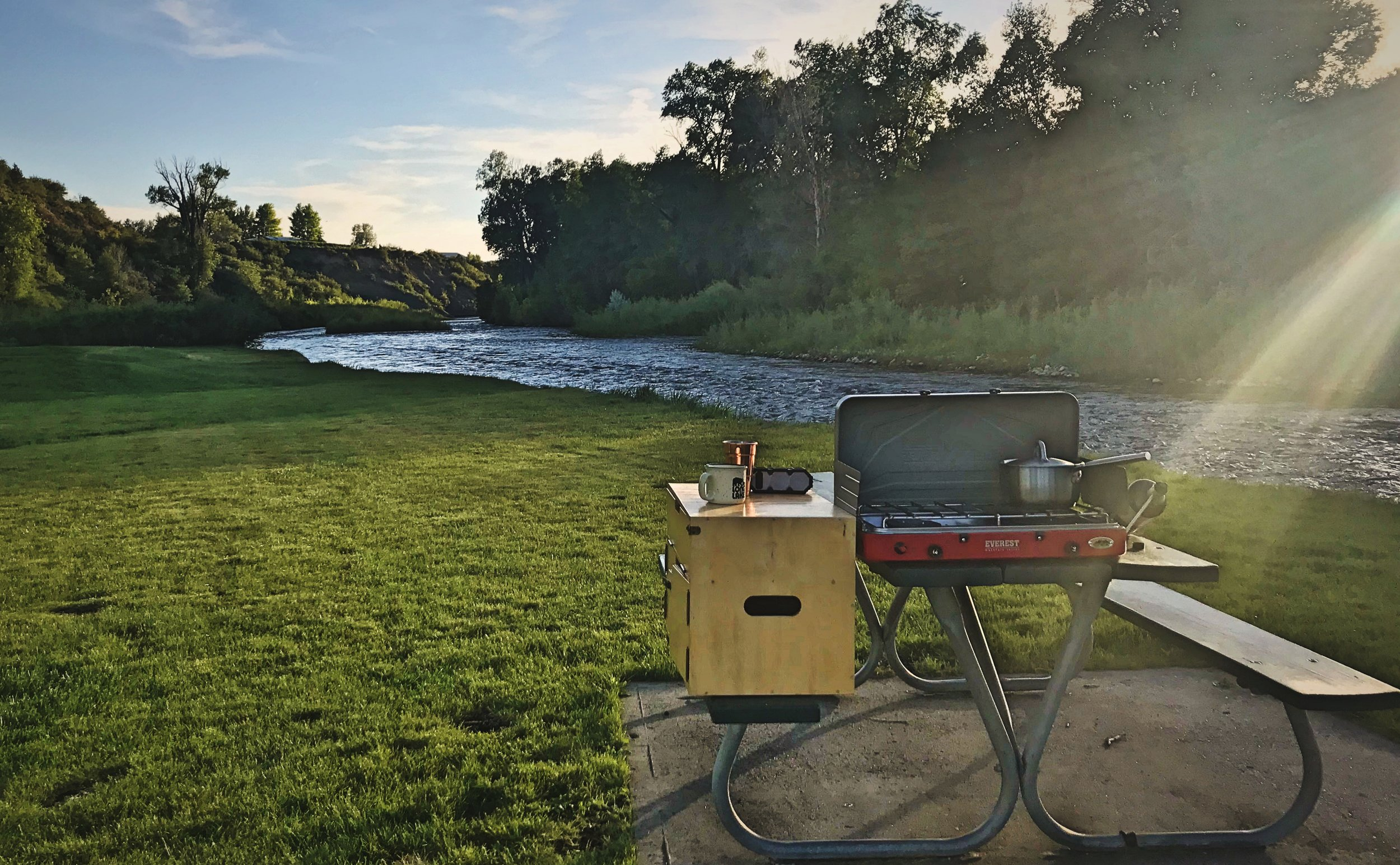 Cooking outside with our chuck box is one of our favorite things to do on warm summer evenings. This spot in Meeker, Colorado was especially perfect. Cooking with our chuck box outdoors it the only time we use 2-lb propane cylinders.