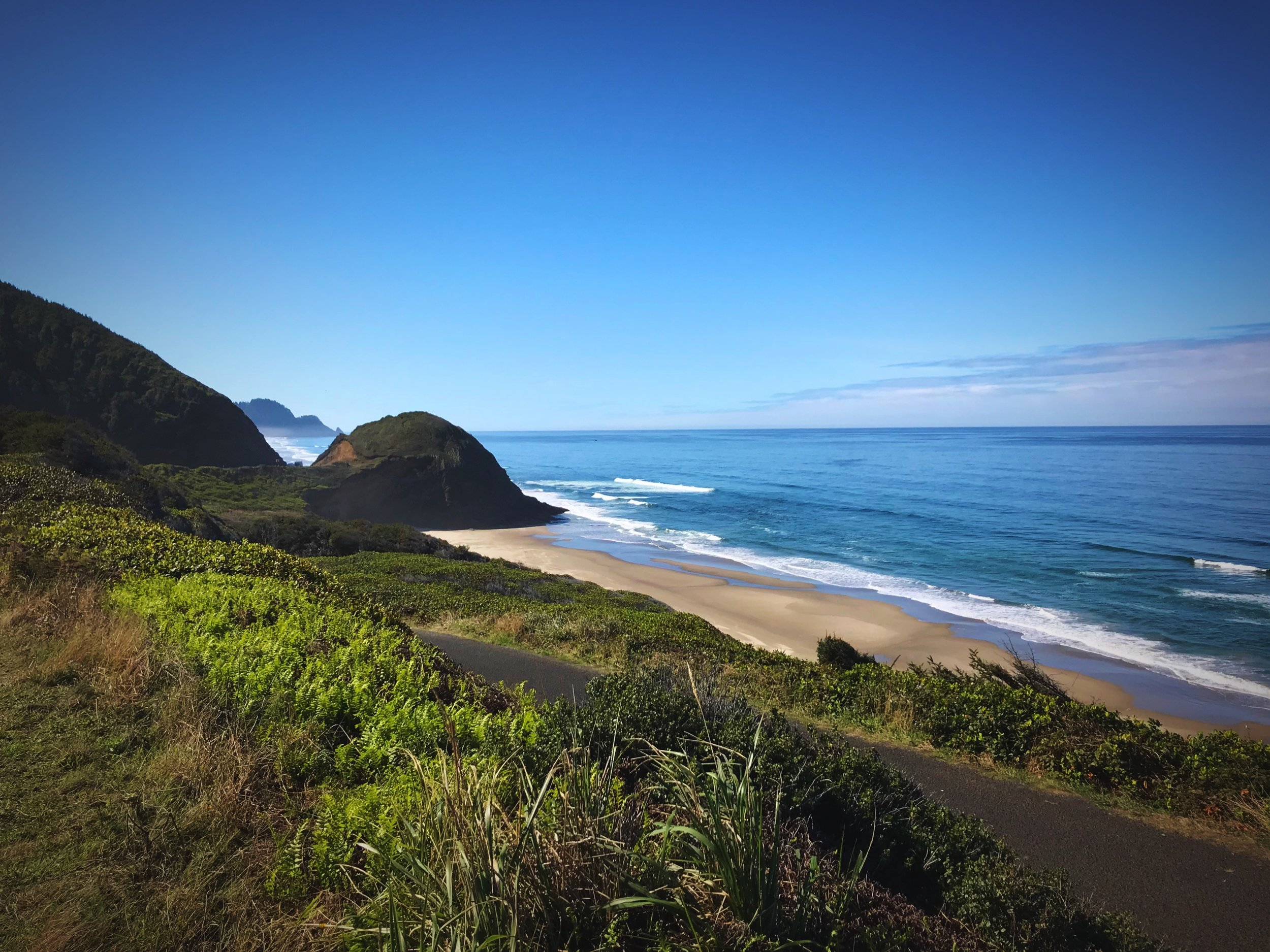 A trail leads you from the cove at the mouth of Cape Creek to the lighthouse on Heceta Head.
