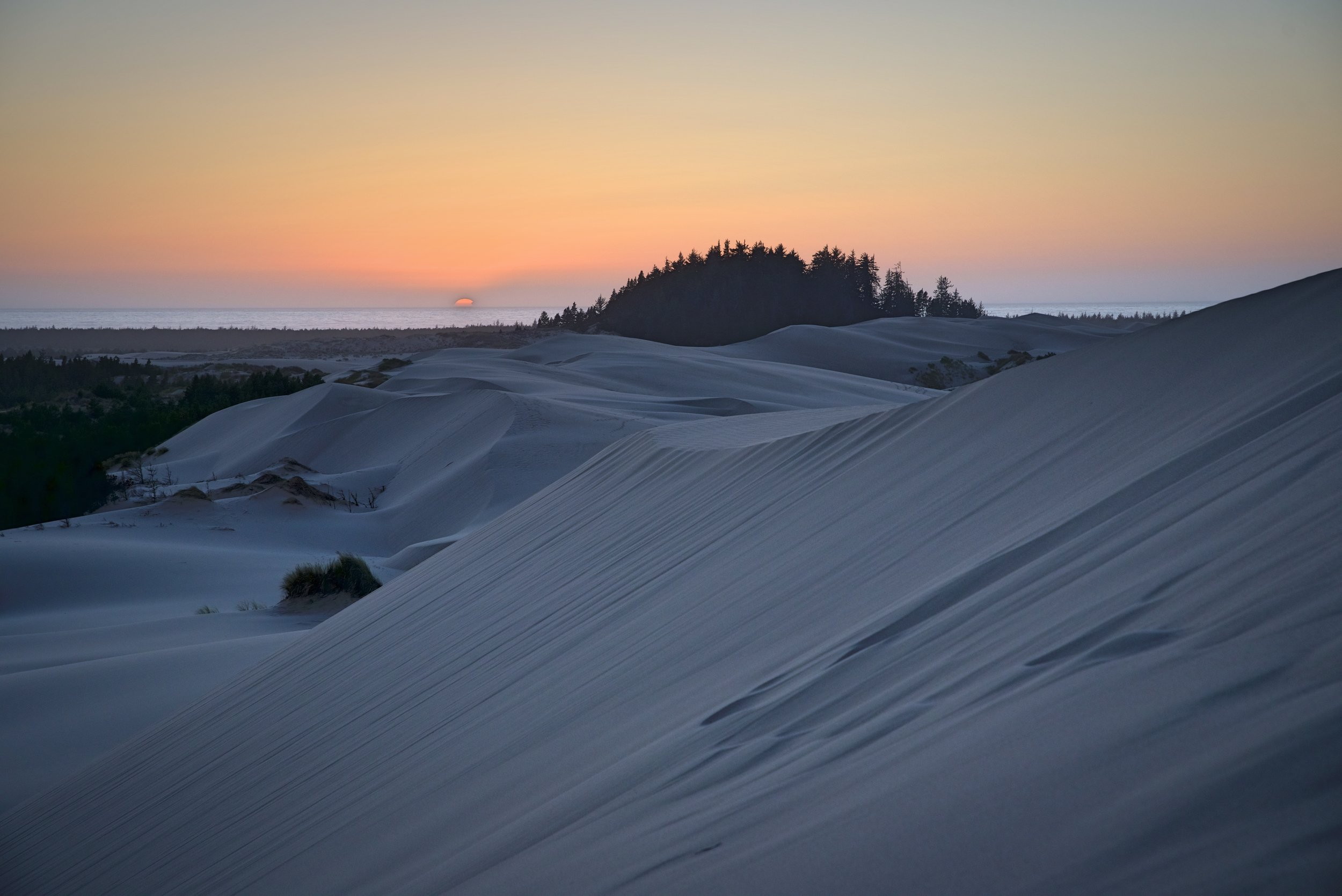 The sand dunes became a blueish gray color as the sun sunk below the horizon.