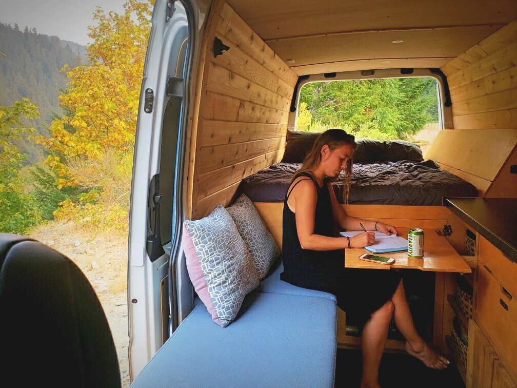 Eating a meal at our fold up van table.
