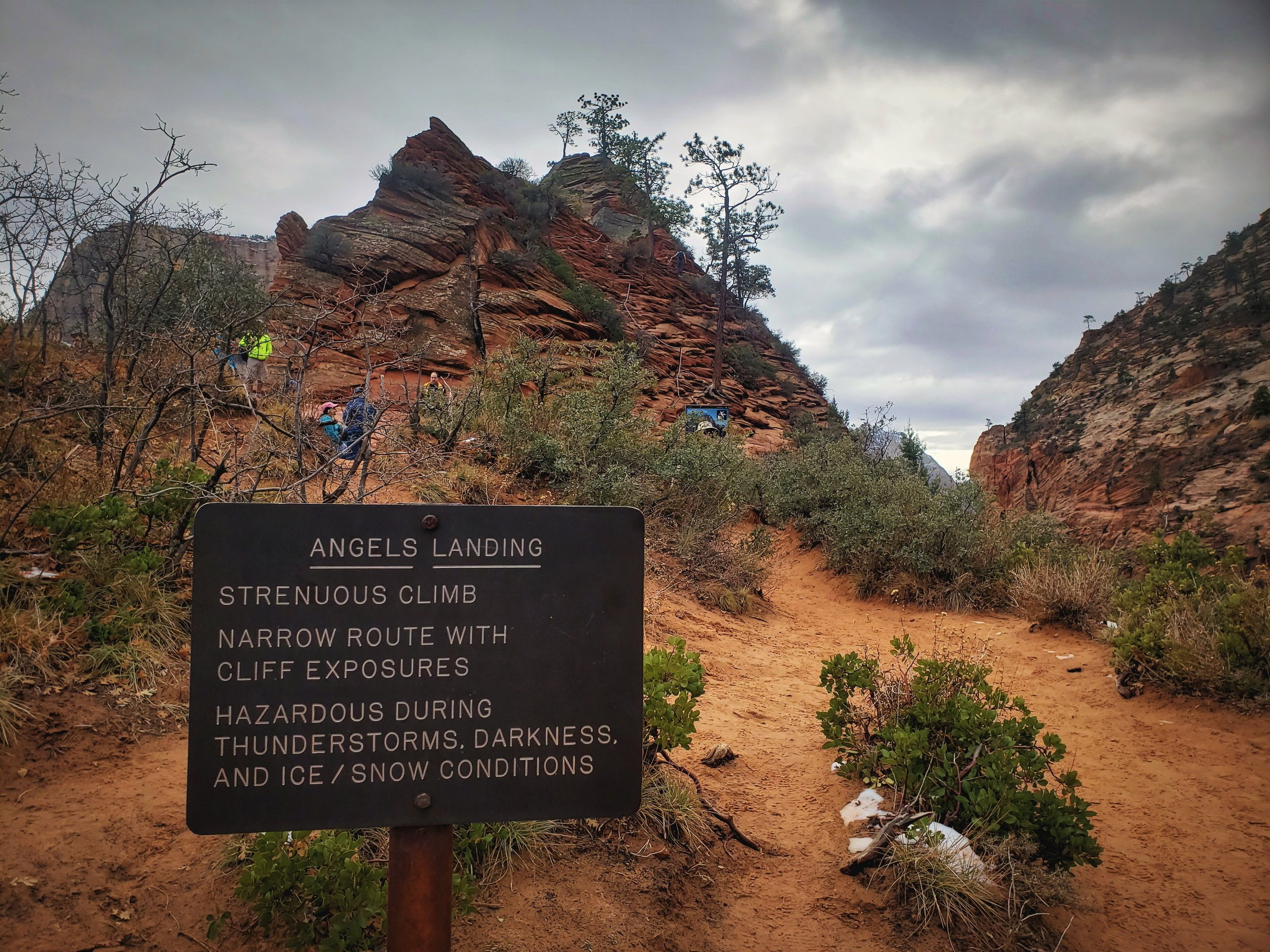 This sign greets you before the chained portion of Angels Landing. Watch for icy conditions in winter.