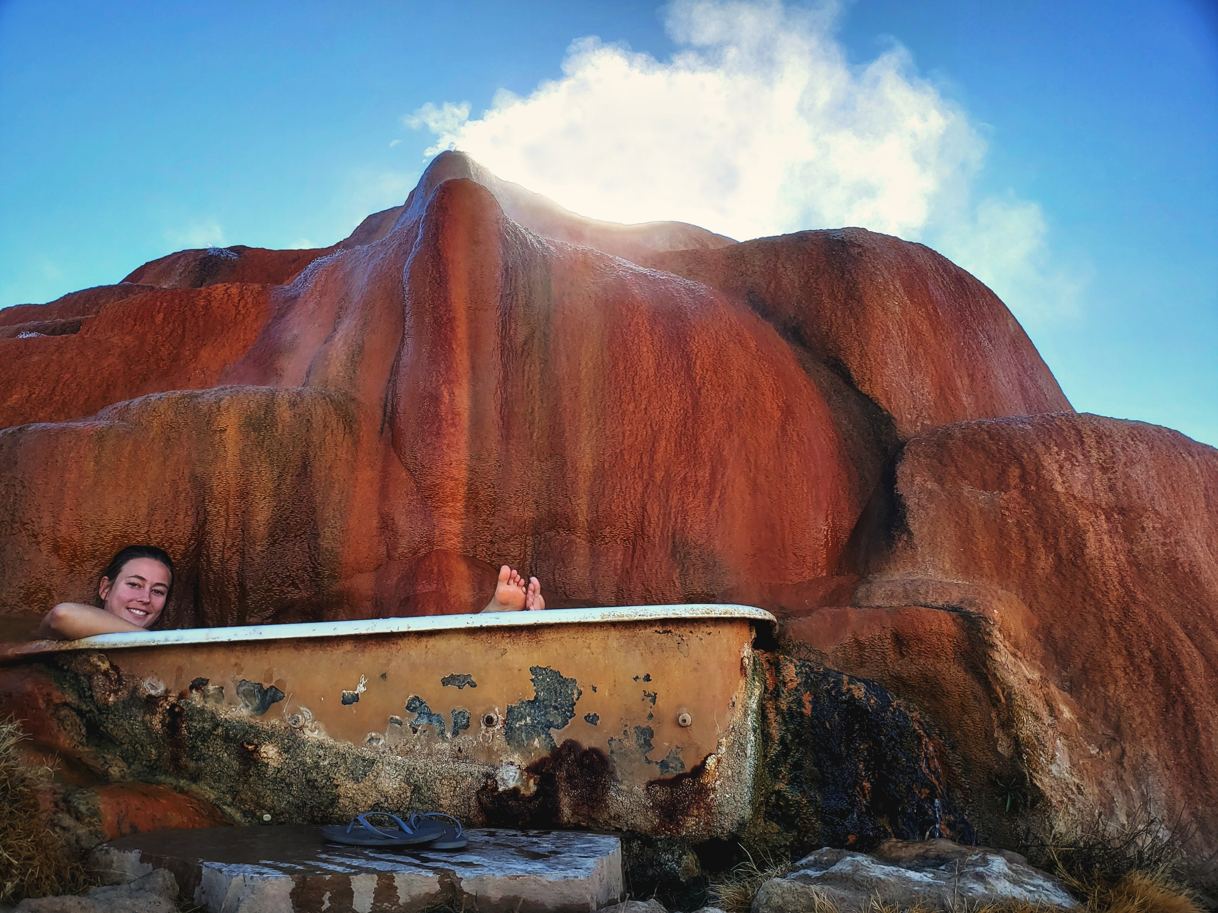 In the cold air, the mineral dome was steaming like a volcano.
