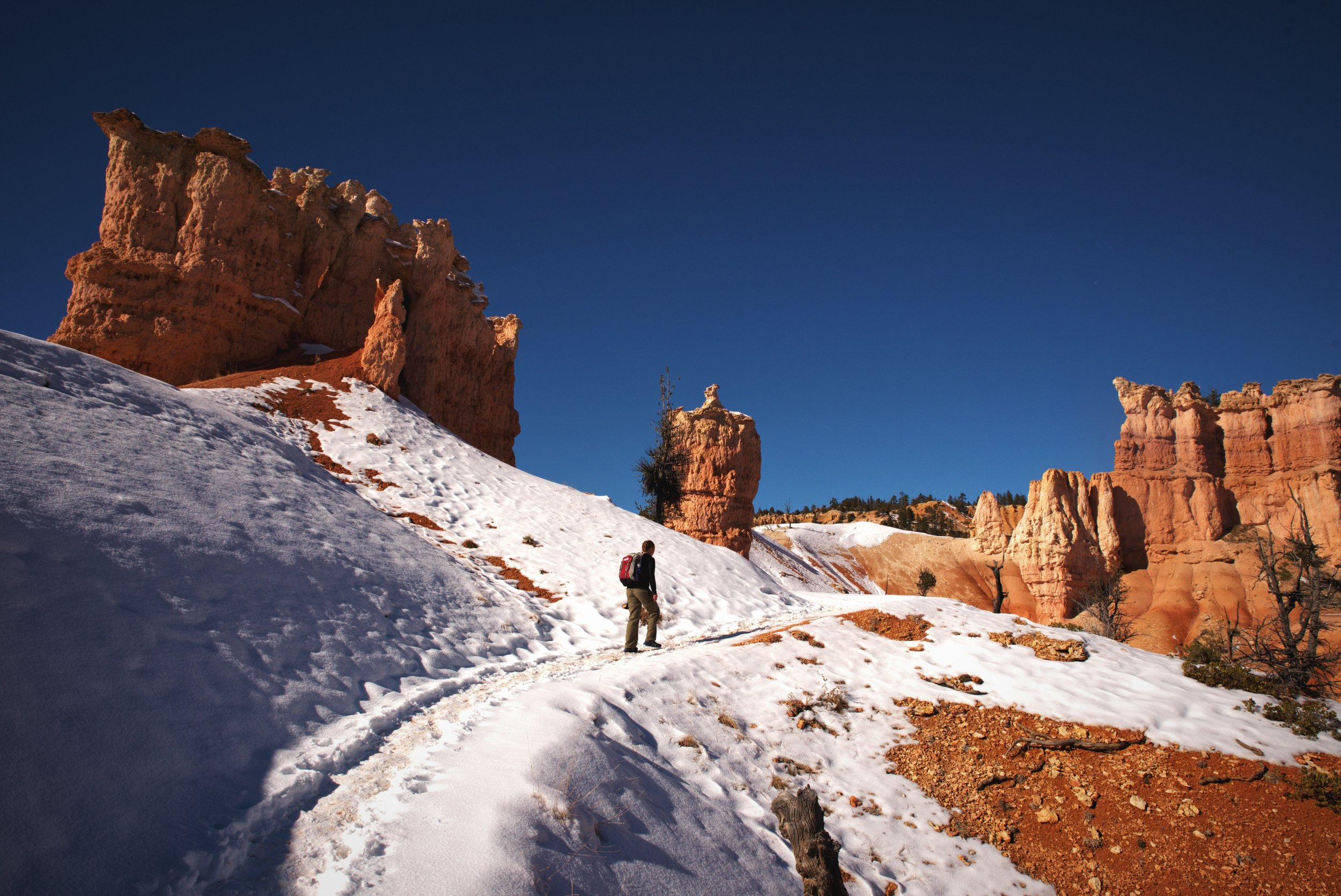 You might start this hike cold, but the long hike out of Bryce Canyon will get you warmed up.