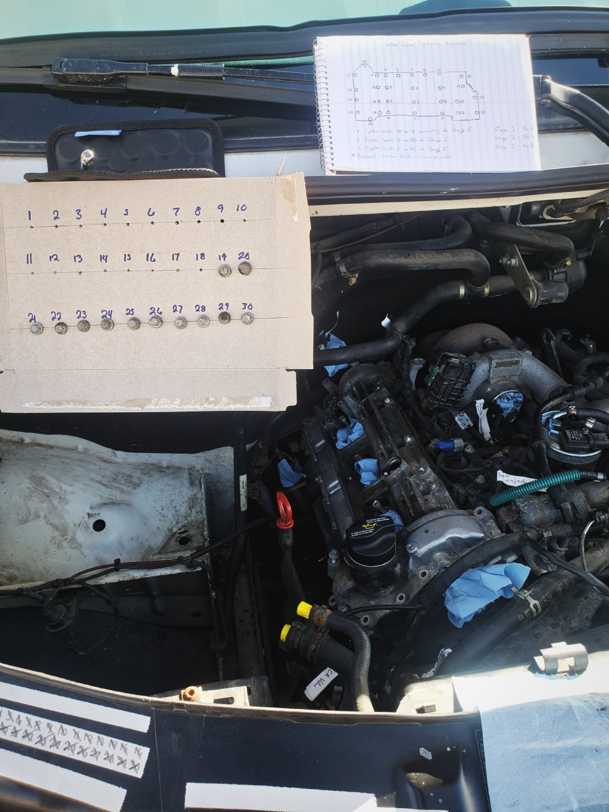 Ian had to develop this bolt guide, because there is a particular order for removing the valve cover's bolts.