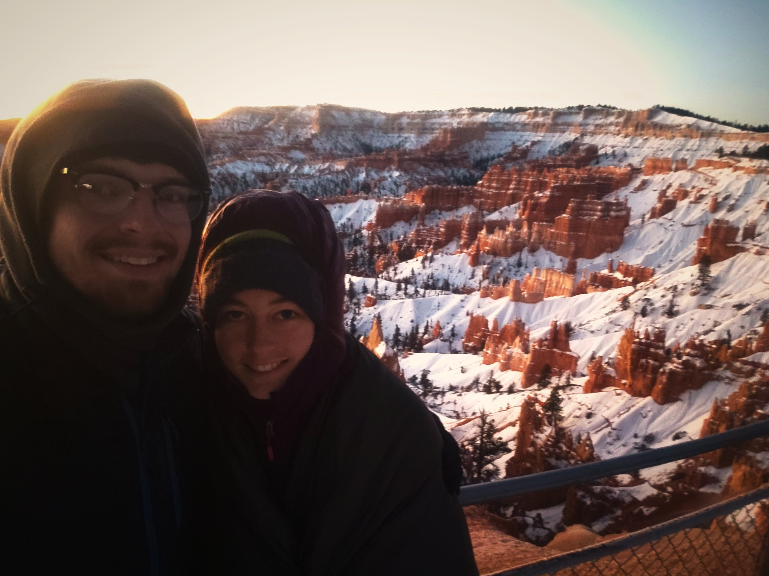 It was -3 degrees with windchill when we watched the sunrise at Sunrise Point in Bryce Canyon National Park.