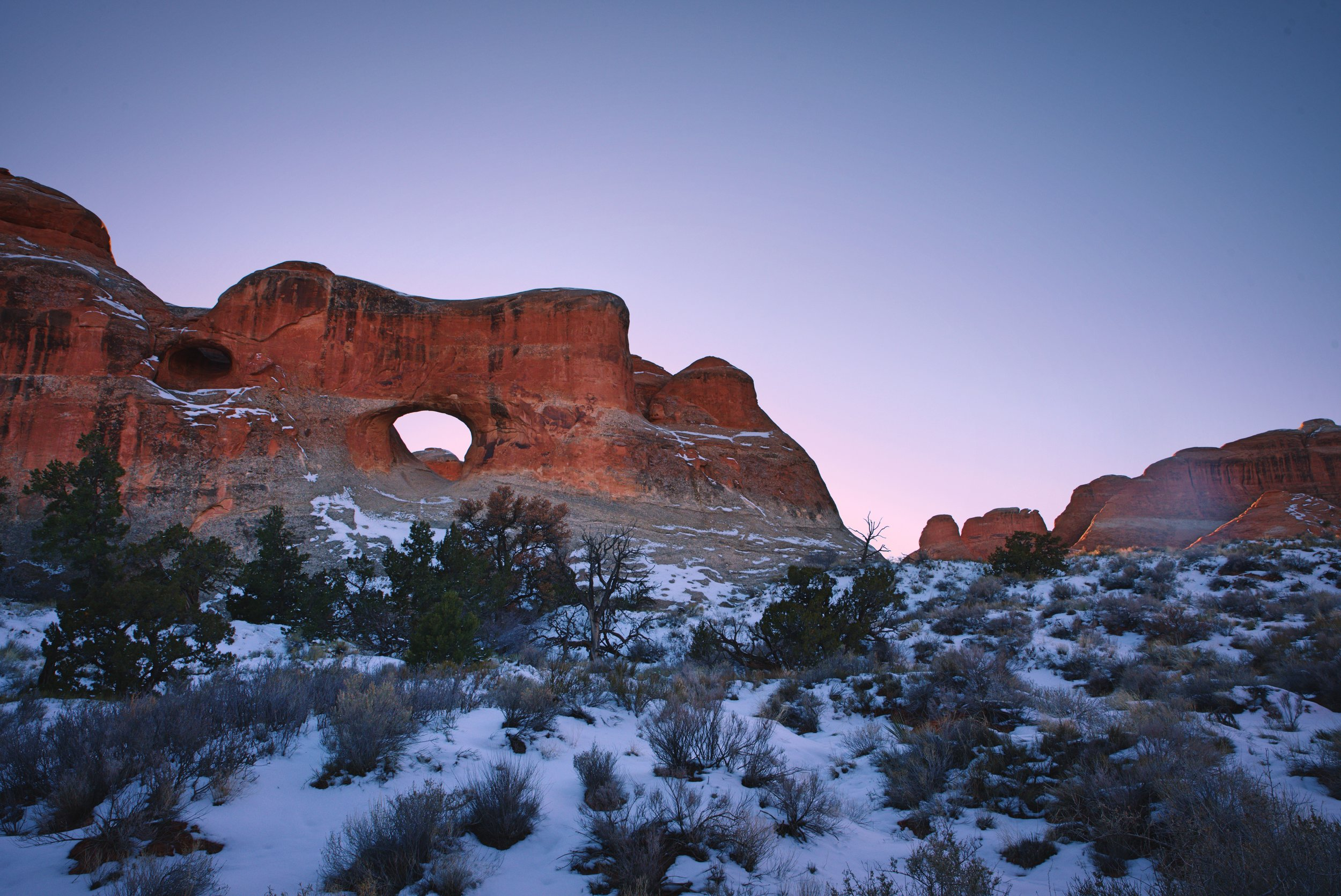 Tunnel Arch at dusk in Arches National Park