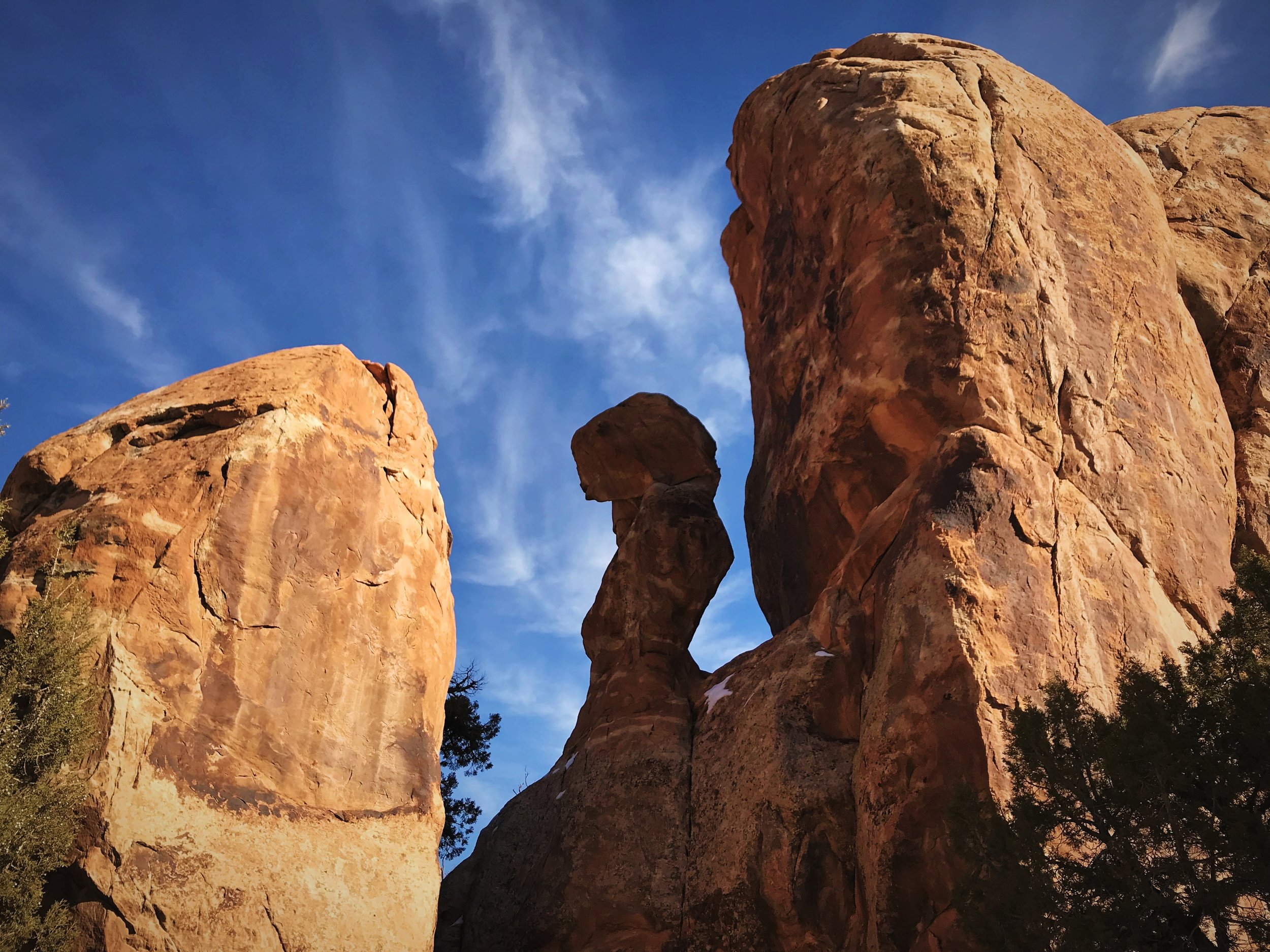 A curious rock formation early in the hike along the Devils Garden Loop.
