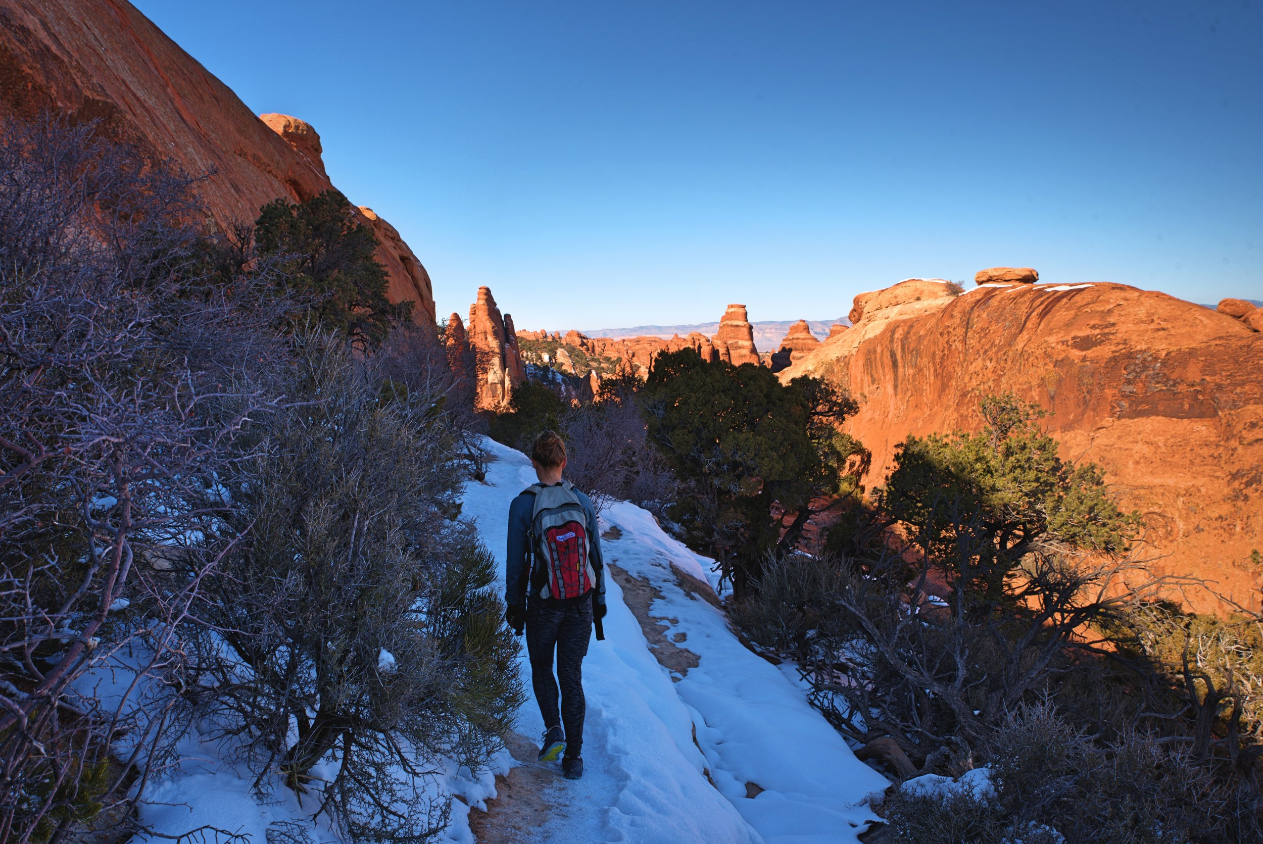 Ice and snow made reaching Double O Arch a bit tricky.