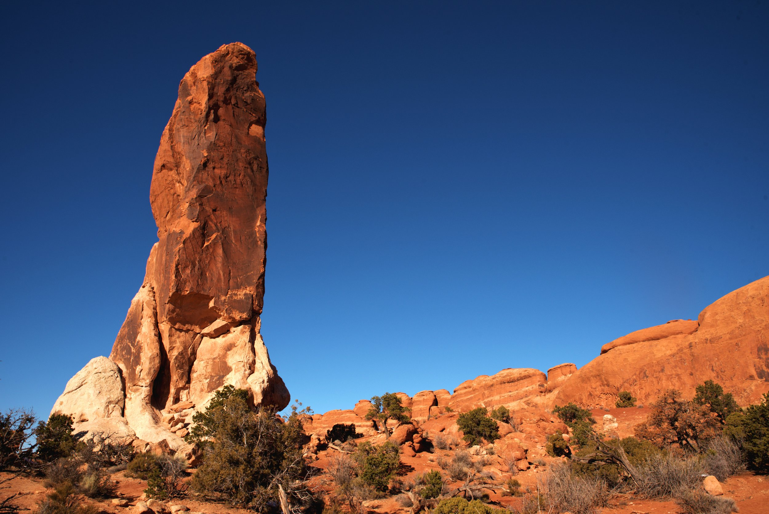 Dark Angel is tall stained formation that rises alone out of the desert.