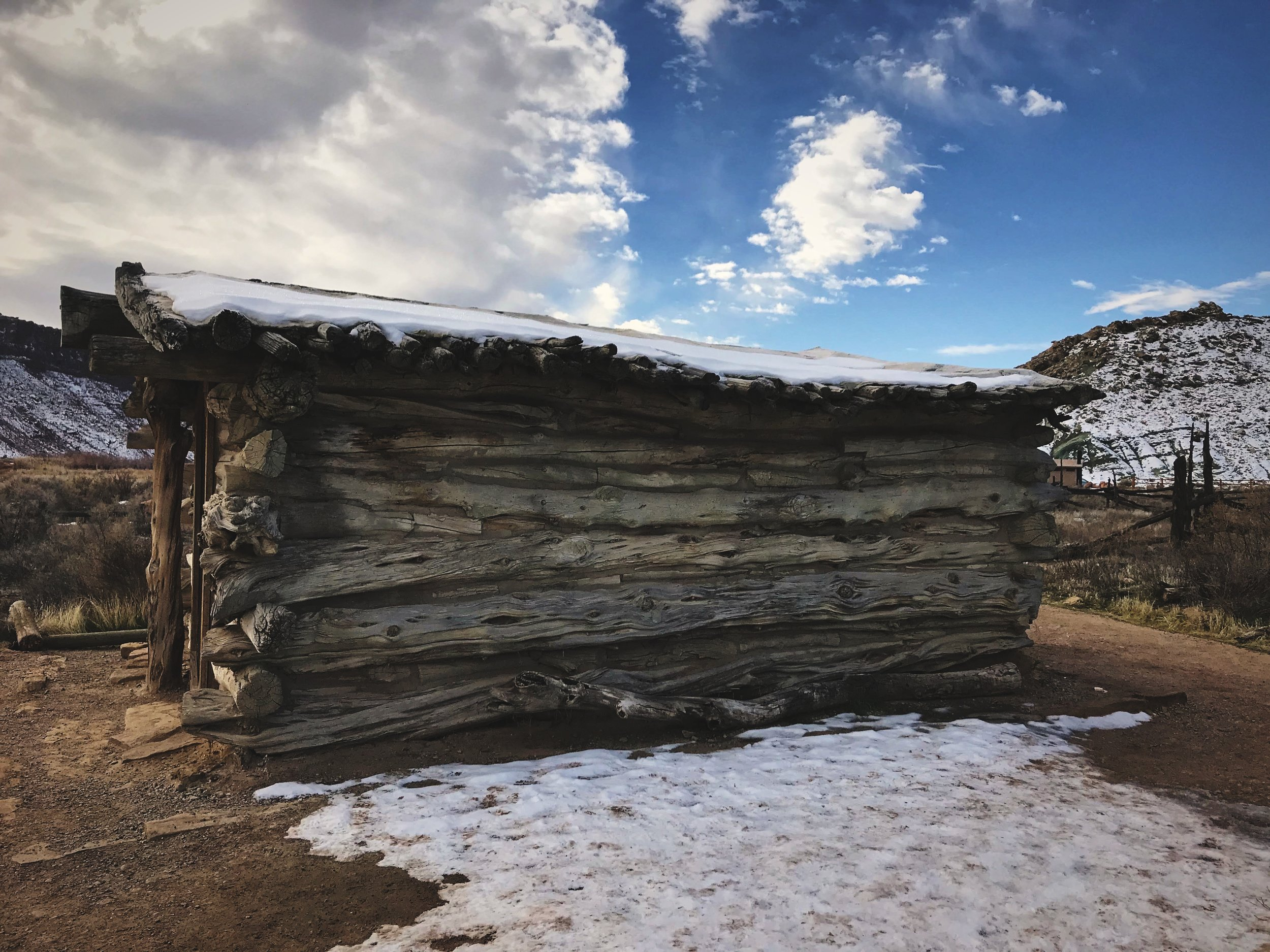 The one-room cabin at Wolfe Ranch on the way to Delicate Arch.