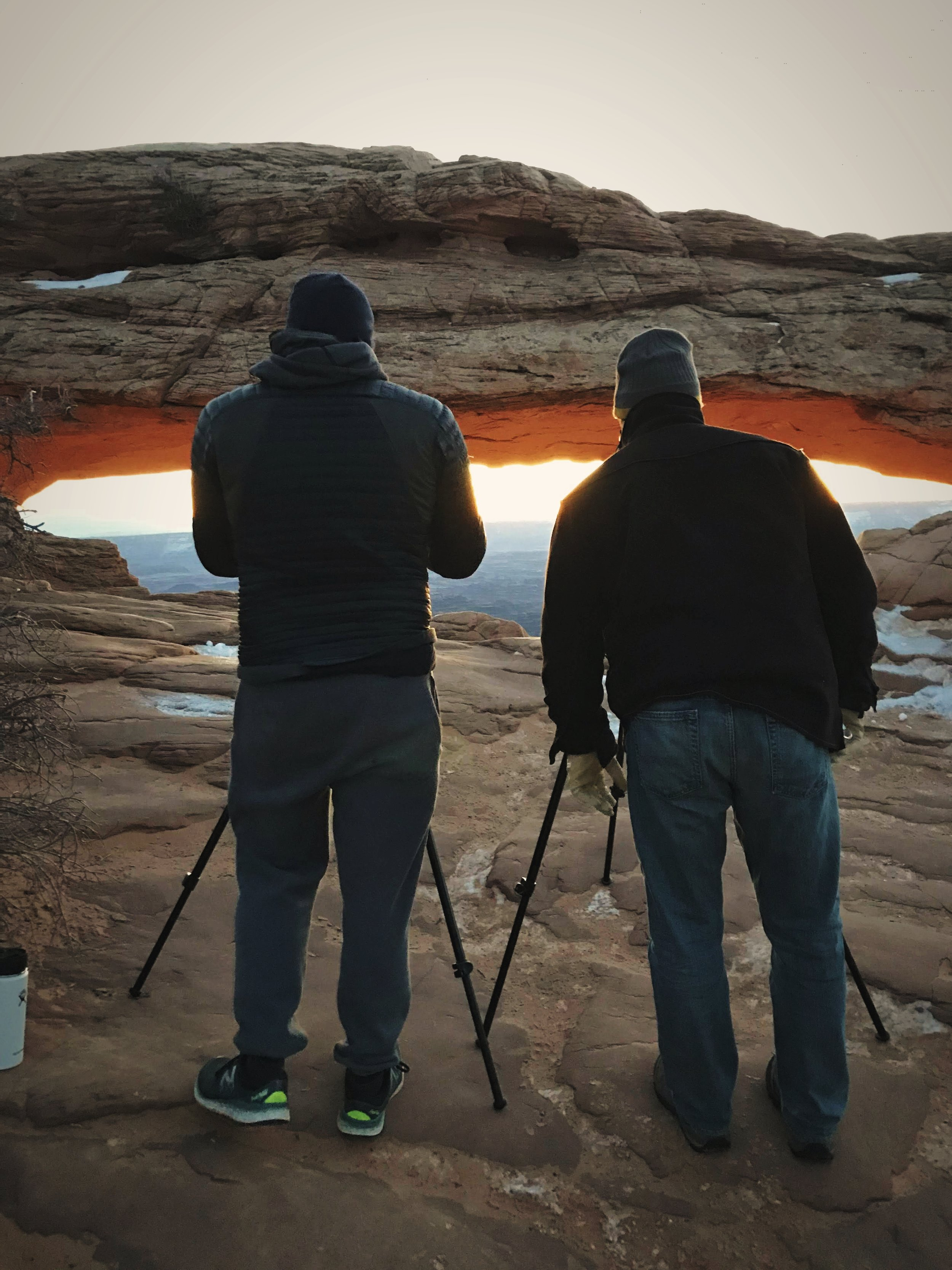 When we were at Mesa Arch there was only one other person with a tripod photographing the sunrise.
