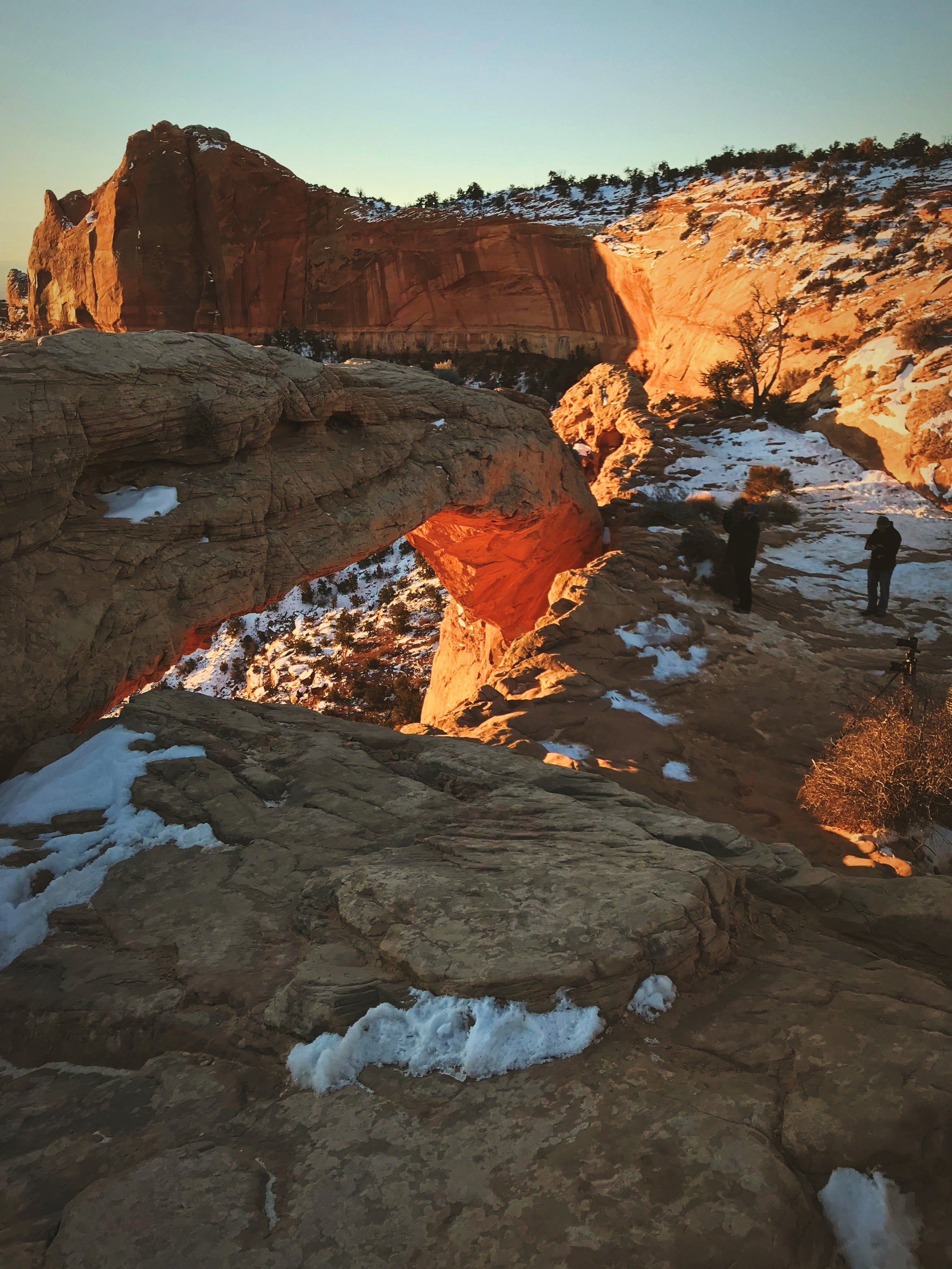 In summer there's sometimes 50 people trying to photograph the sunrise at Mesa Arch. Winter is a different story.