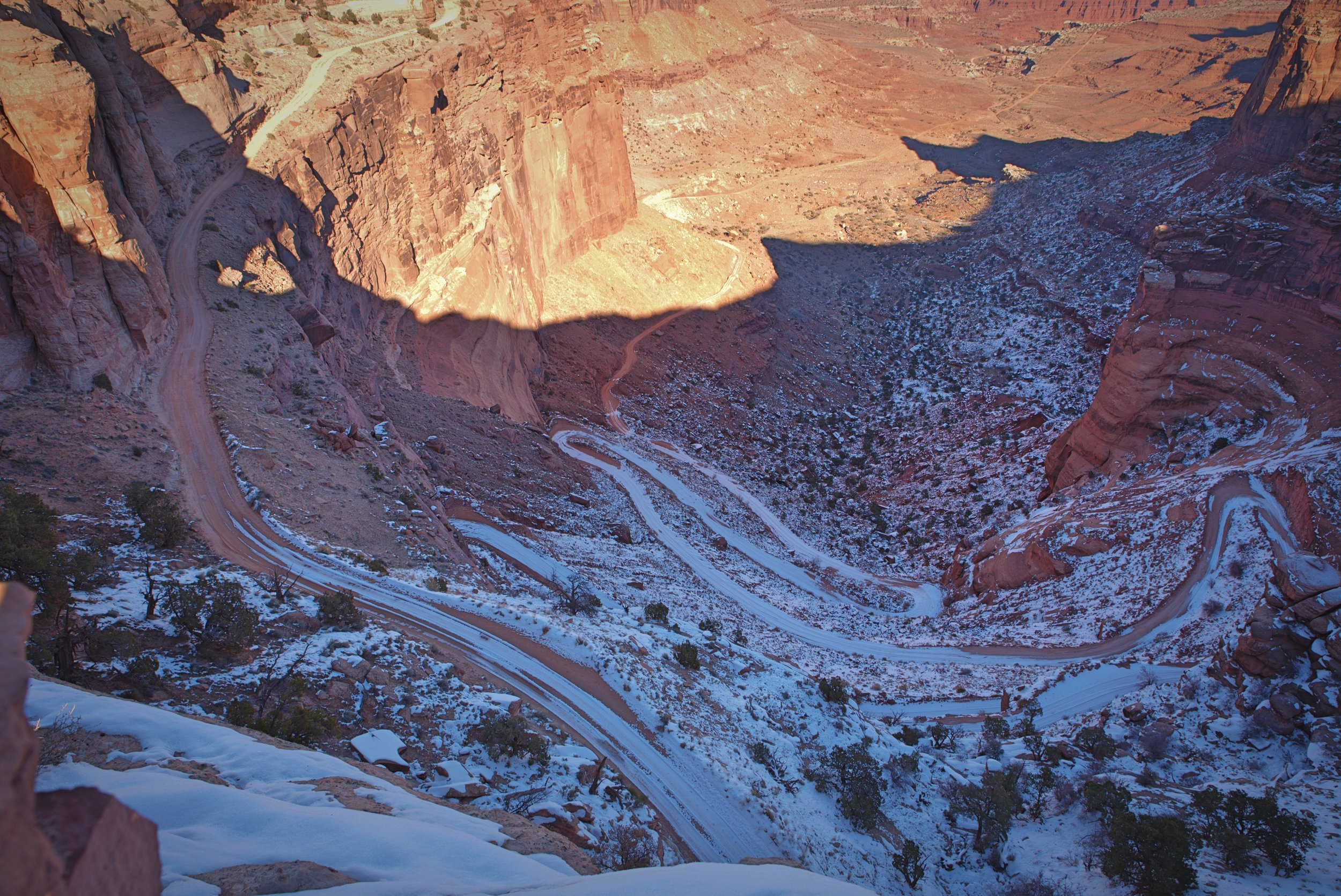 The Shafer Trail leads to the White Rim 4x4 road through these series of insane switchbacks.