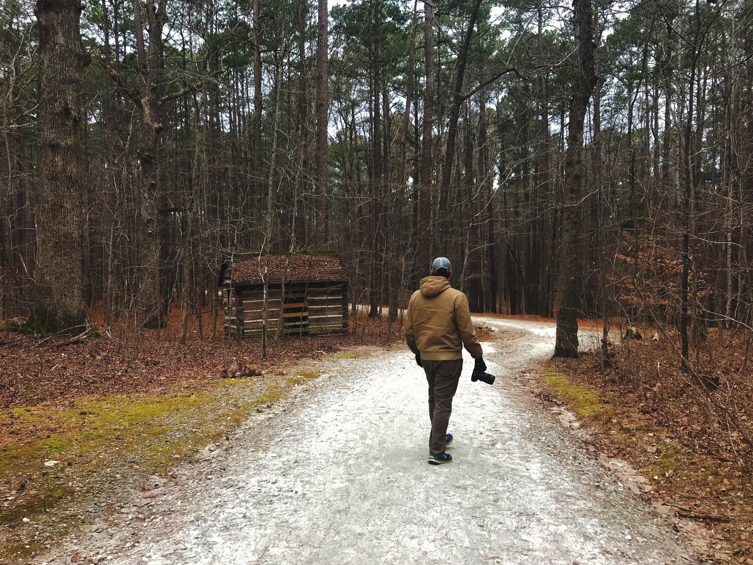Walking up the trail in William B. Umstead State Park, there is a really cute little cabin.