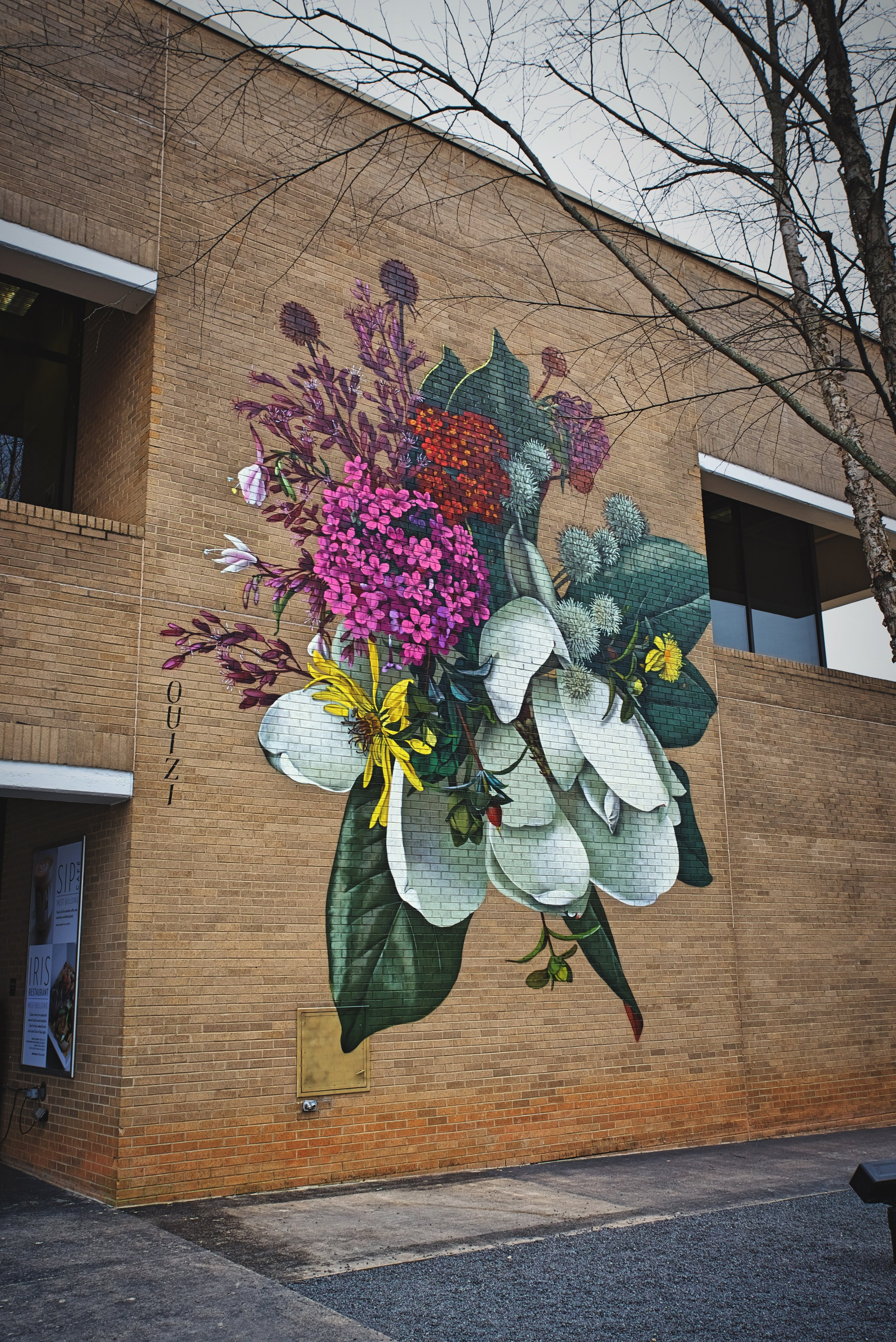 This beautiful mural is on the outside of one of NCMA's buildings.