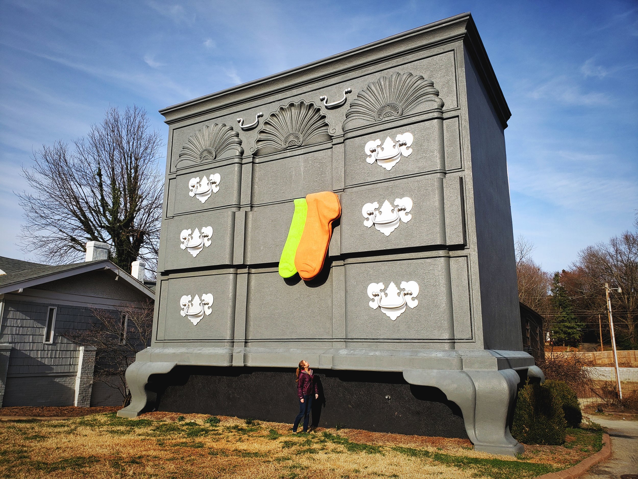 We loved the massive colorful socks hanging out of the original Bureau of Information in High Point, NC.