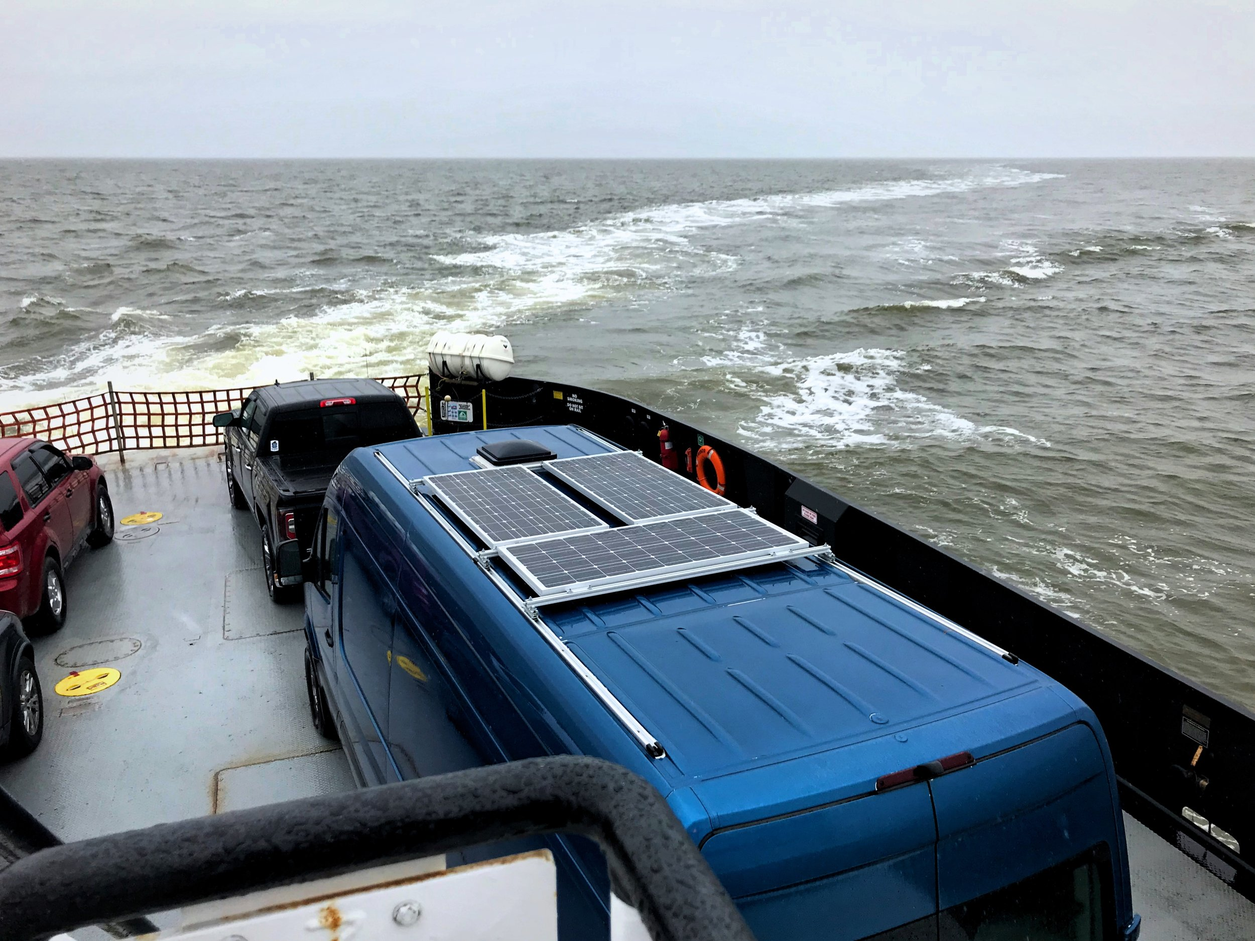 We took our van on a ferry for the first time in the Outer Banks of North Carolina.