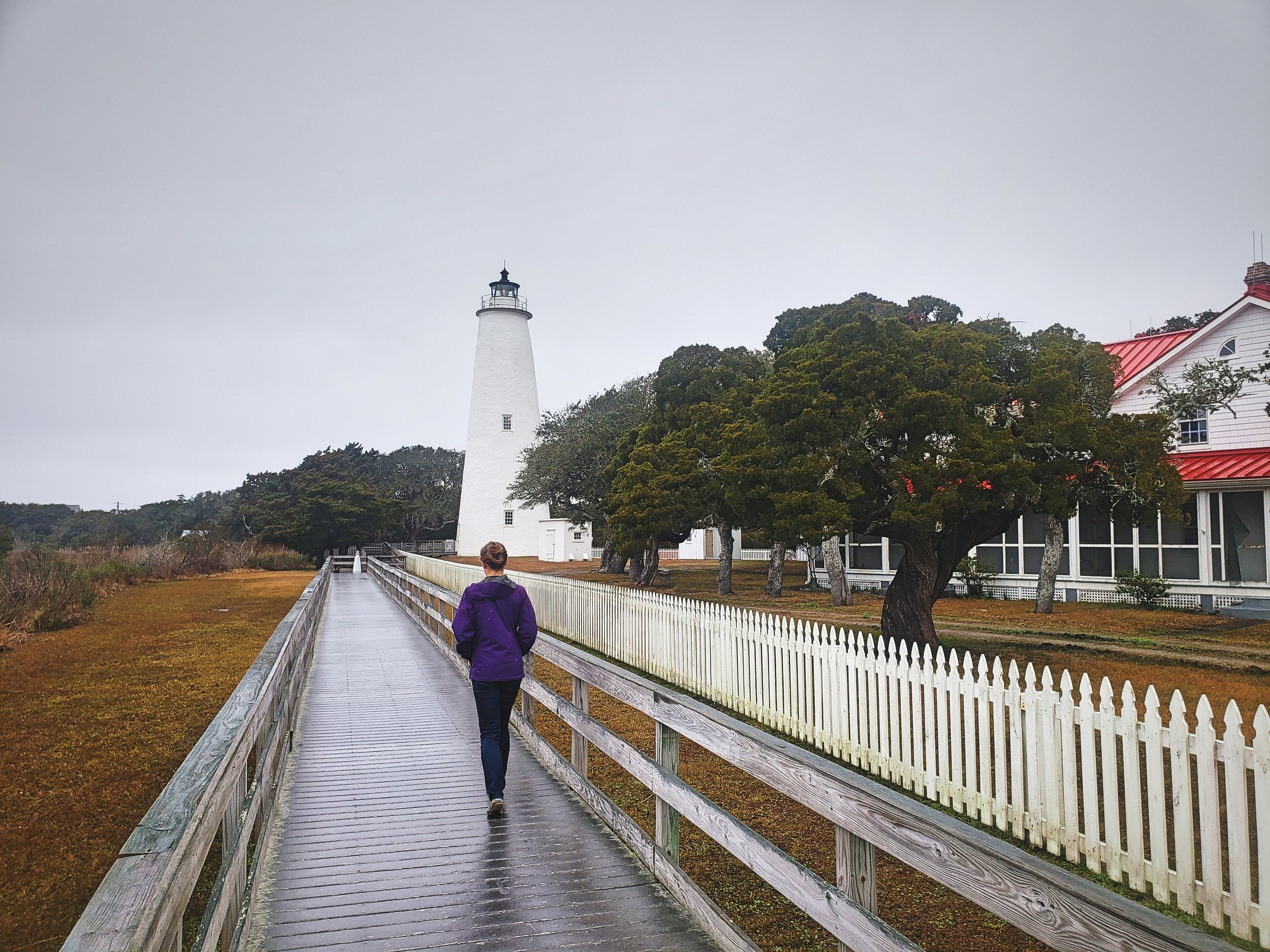 Visiting the very quaint Ocracoke Lighthouse while visiting Ocracoke Island in February.