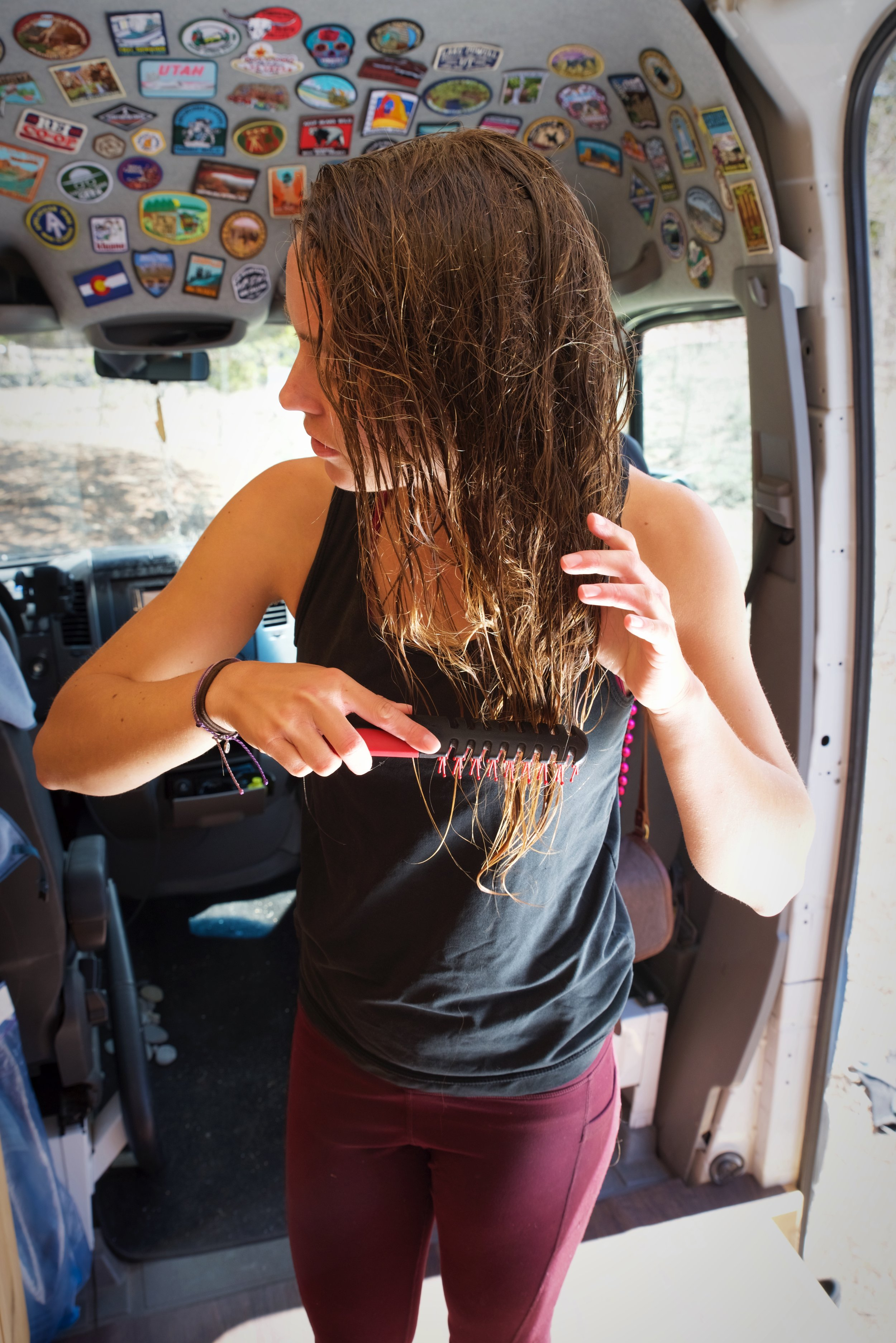 I can wash my hair in our van using only about a half gallon of water.