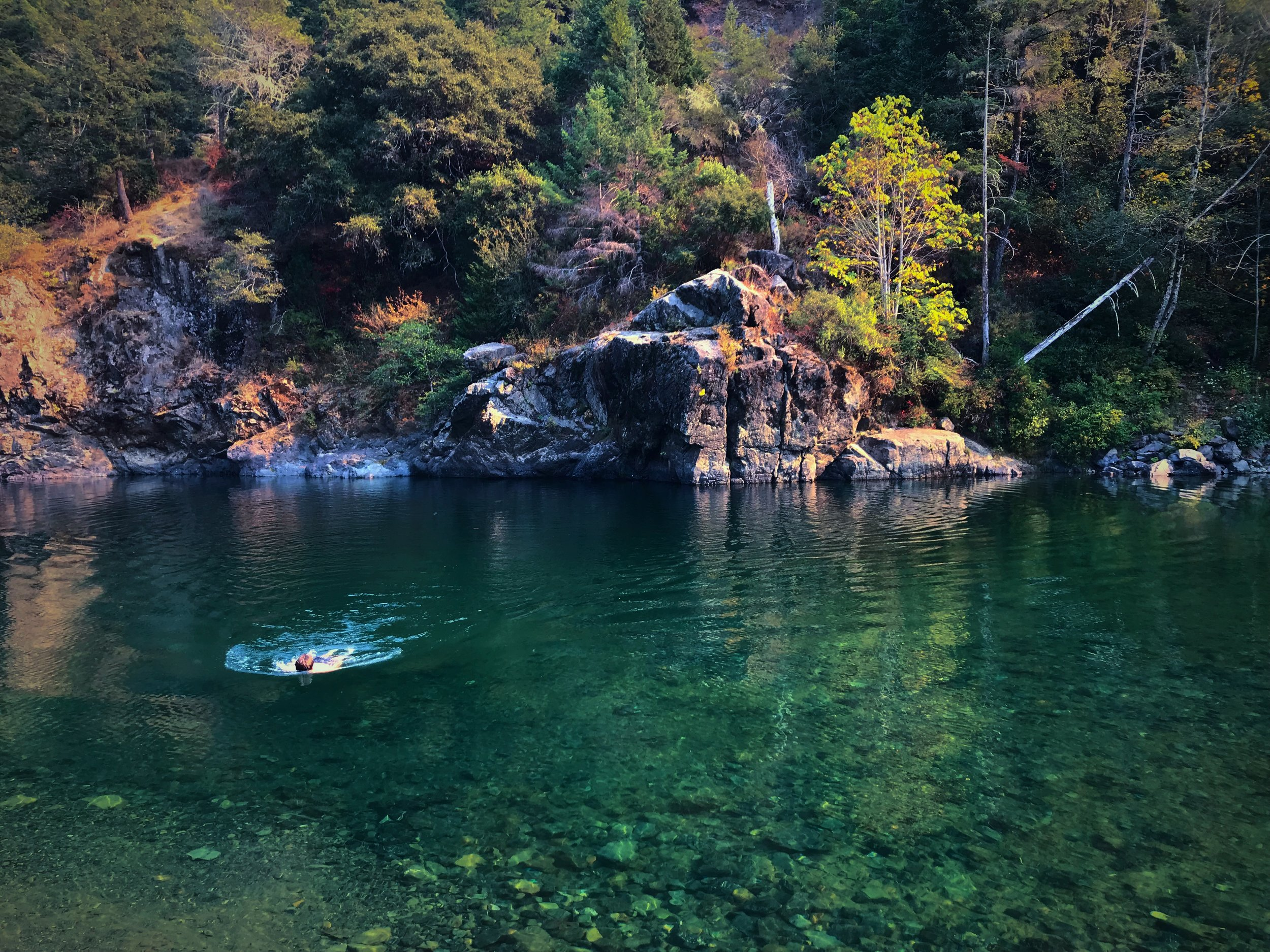 The water in the  Smith River in California  was so cold and clear that we felt really refreshed after swimming here, even though we hadn't showered in a while.