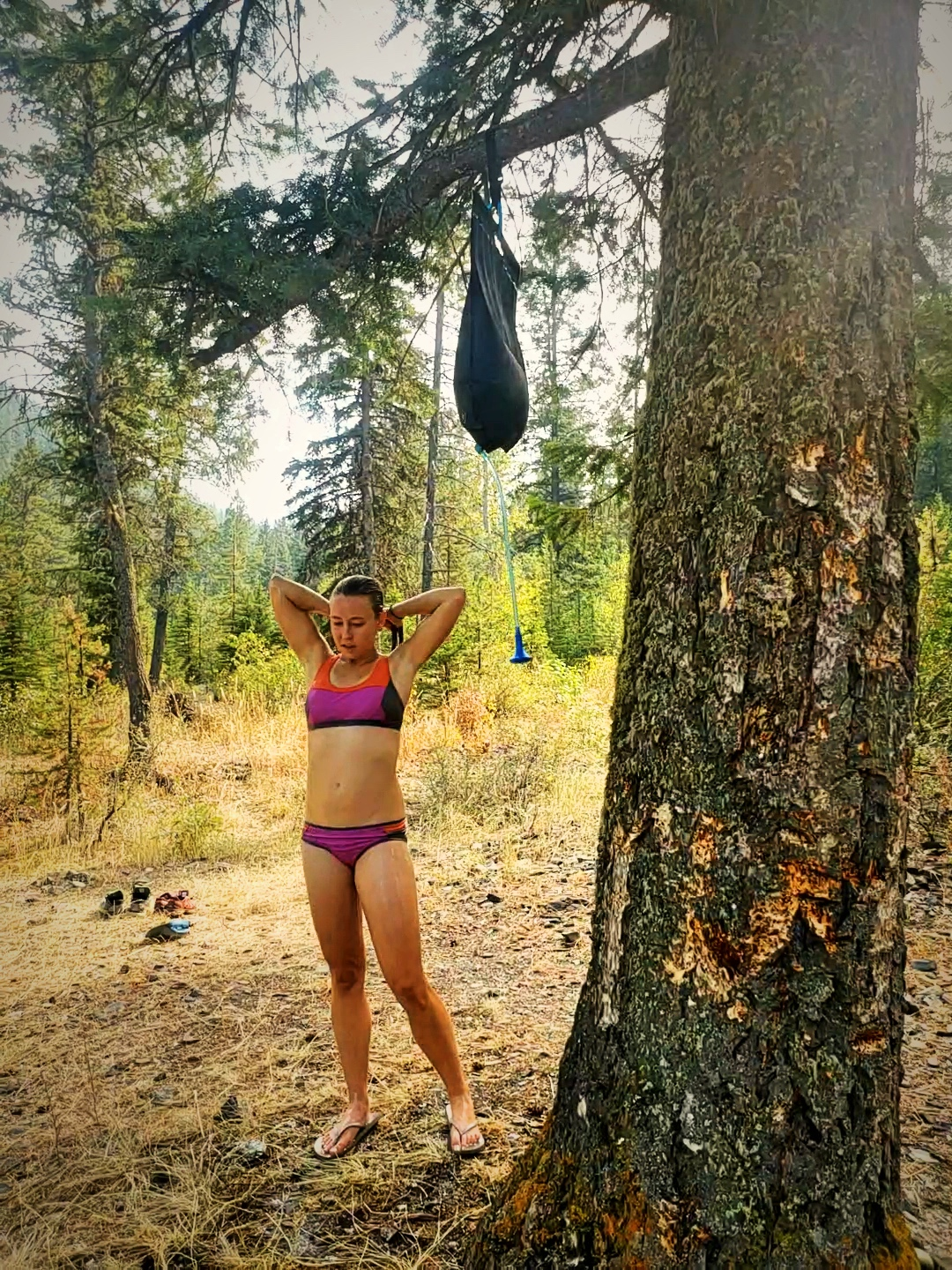 Using our solar shower while camping in the Wallowas in Oregon. We rarely have used our solar shower.