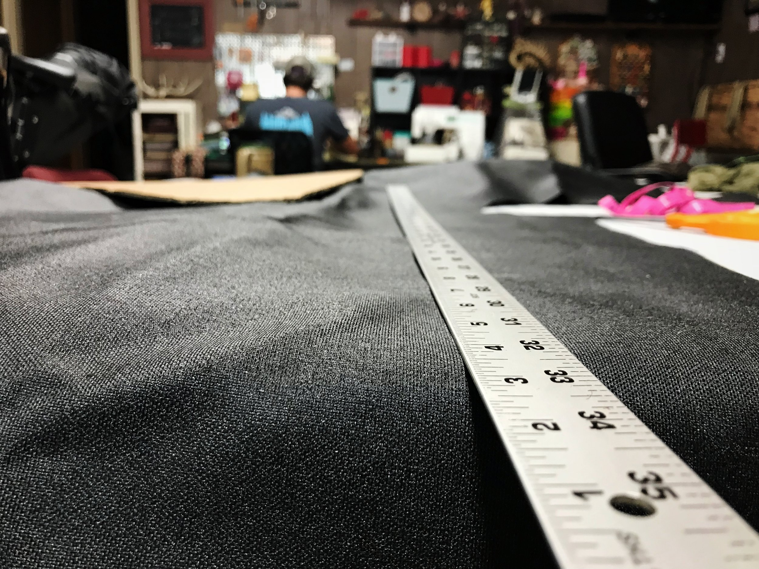 Use a yard stick or quilters ruler to measure out the rectangular piece or pieces for the edge of your bag.