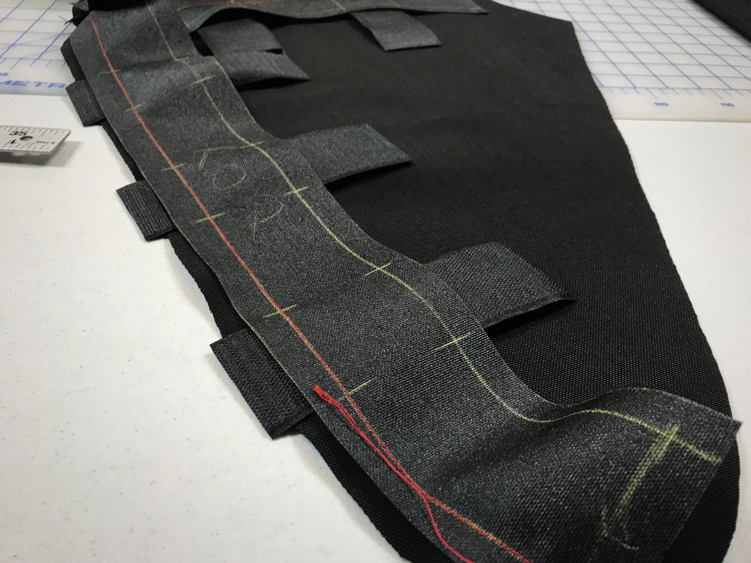 Mark on your fabric pieces where your velcro needs to be and then sew it on when you sew your side piece on.