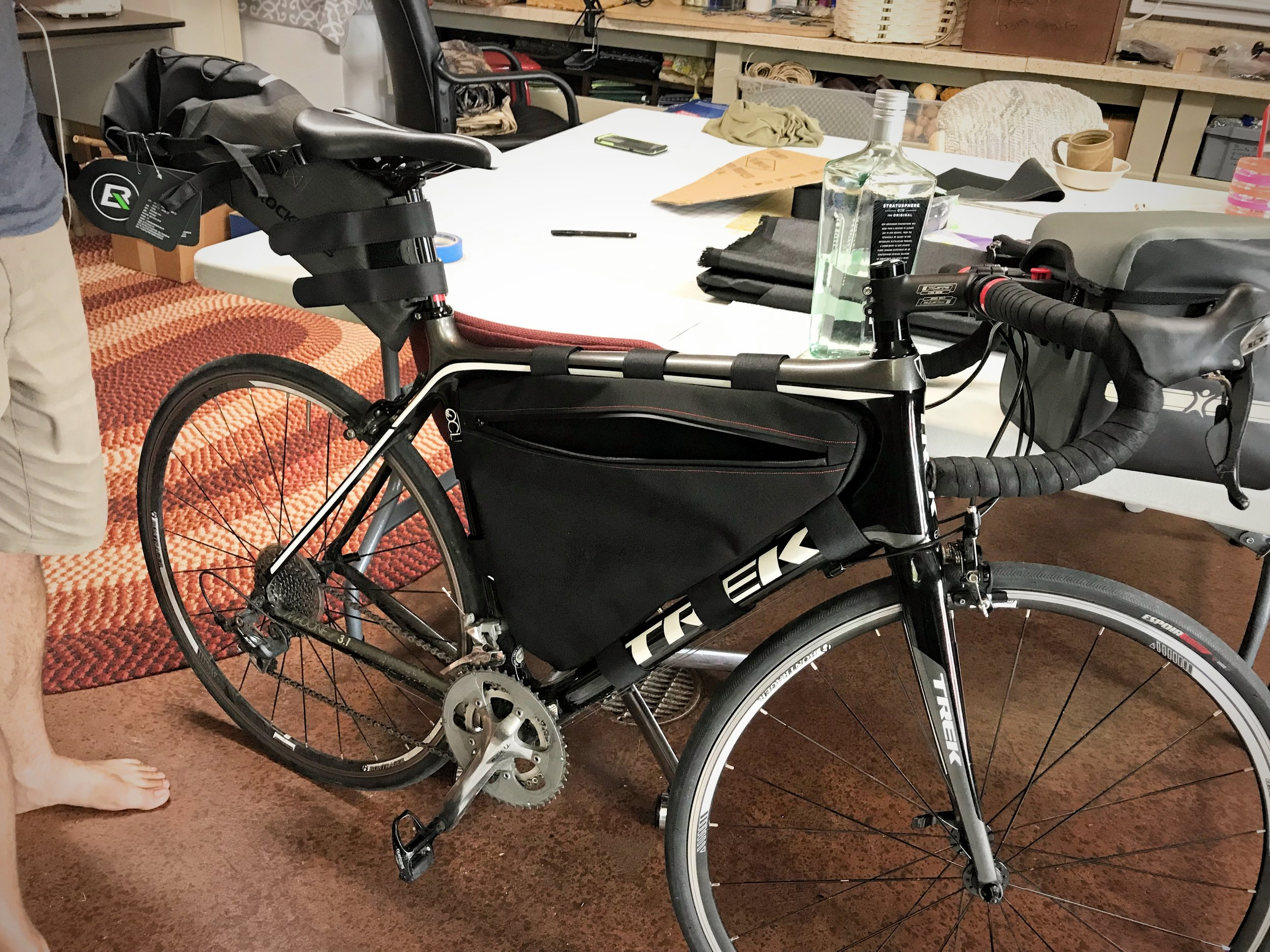 Ian's finished frame pack fits his bike nearly perfectly, unlike any bag we could buy.