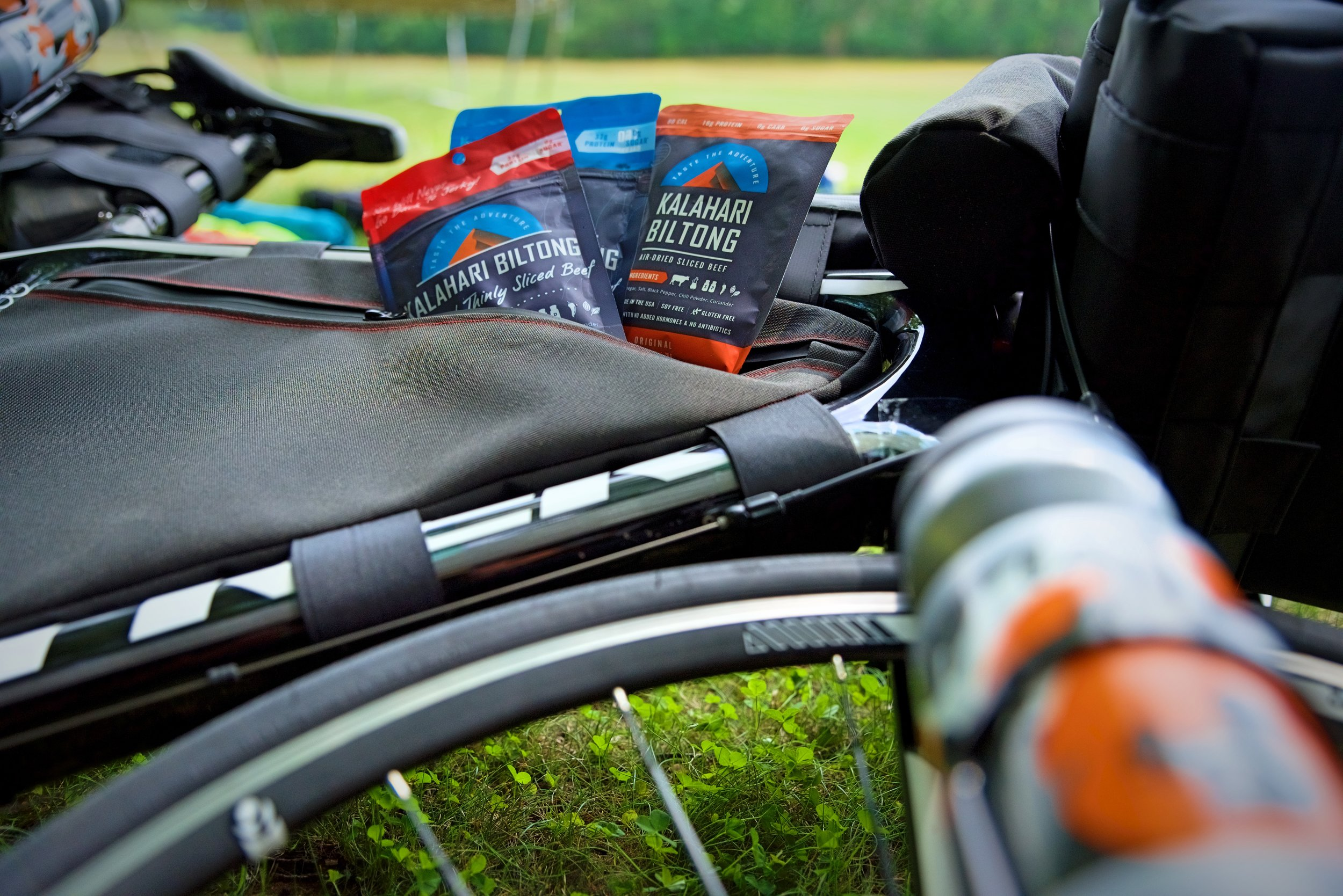 By weight, Kalahari Biltong is probably one of the most nutrition dense foods you could bring when bike camping.