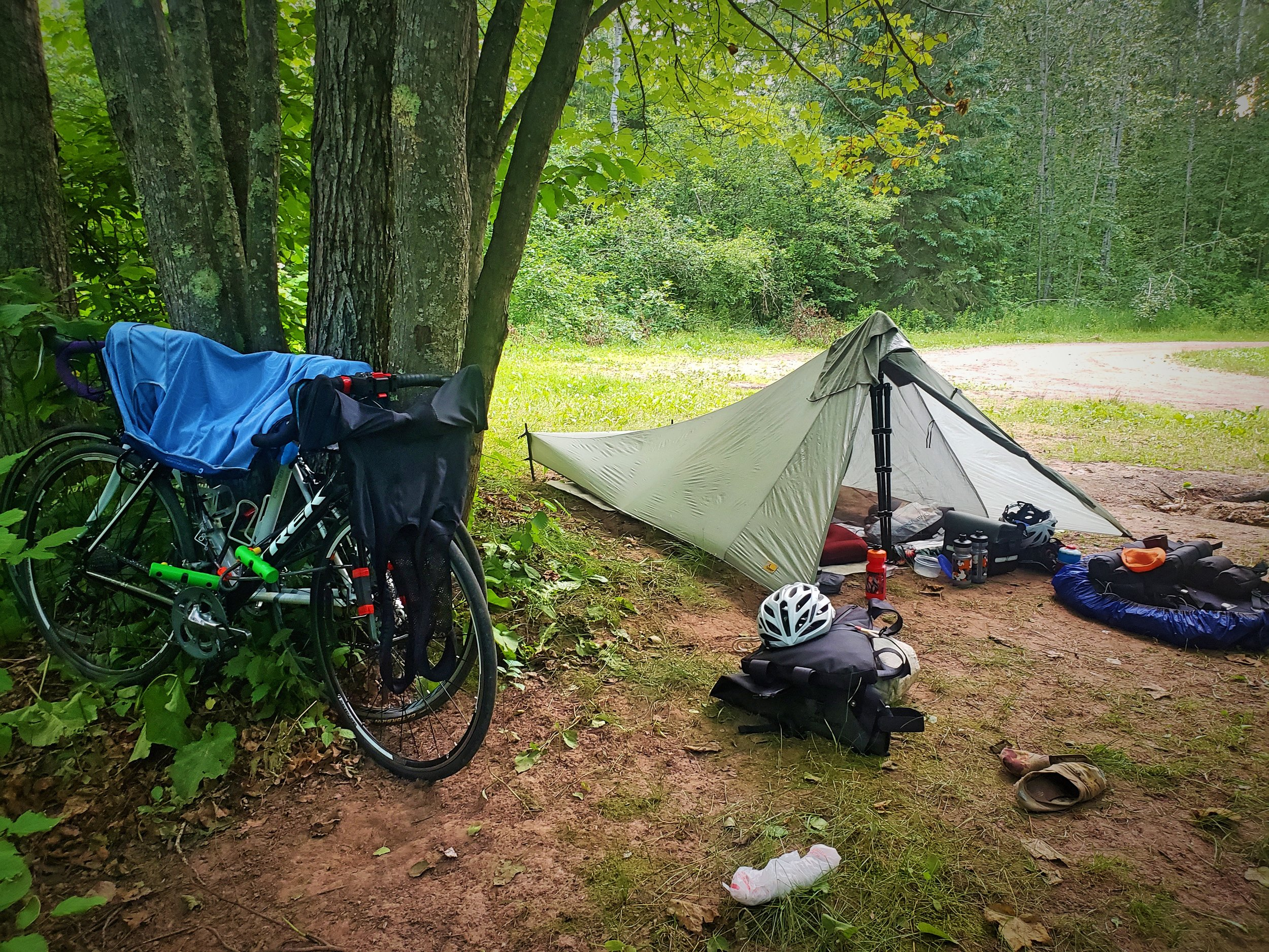 Our free campsite along the Brule River in Northern Wisconsin during our bike tour.