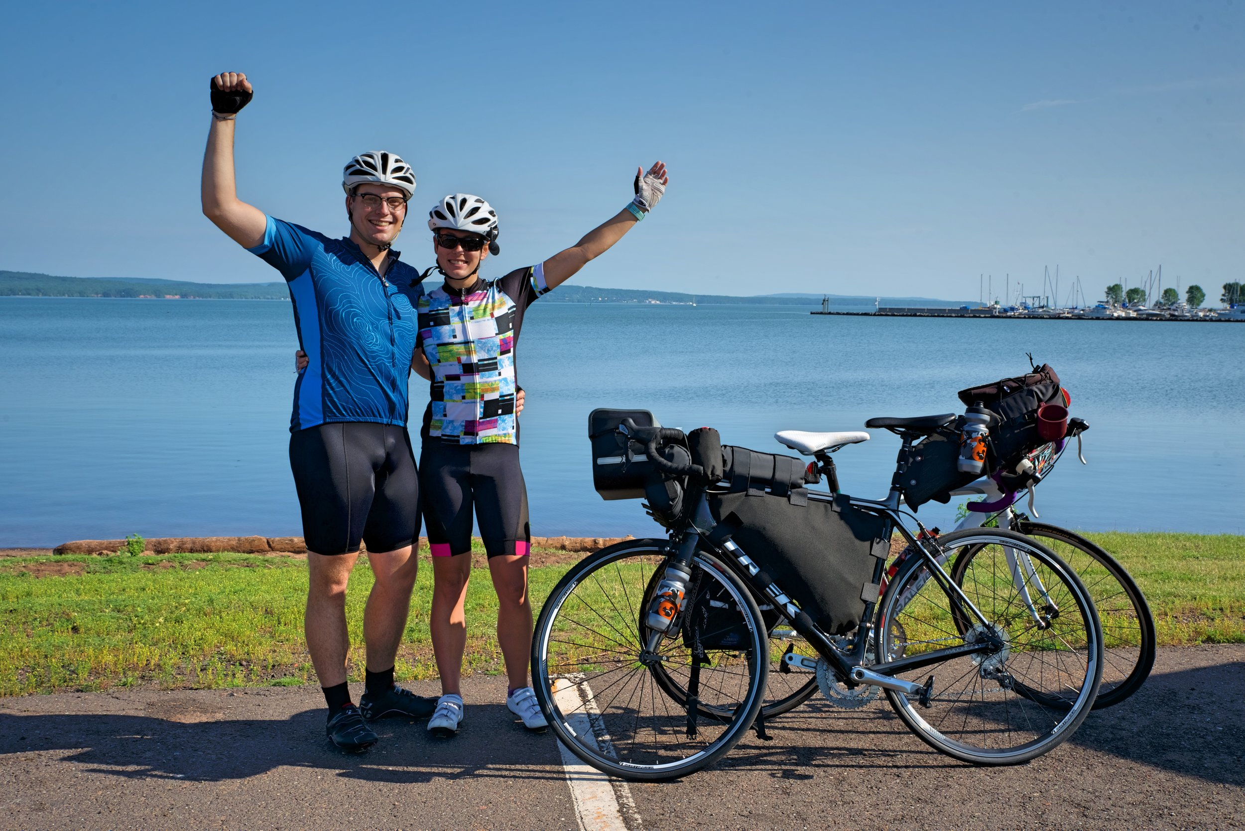 A mix of excitement and trepidation as we started our Lake Superior bike tour on the shores to the Chequamegon Bay in Ashland, WI.