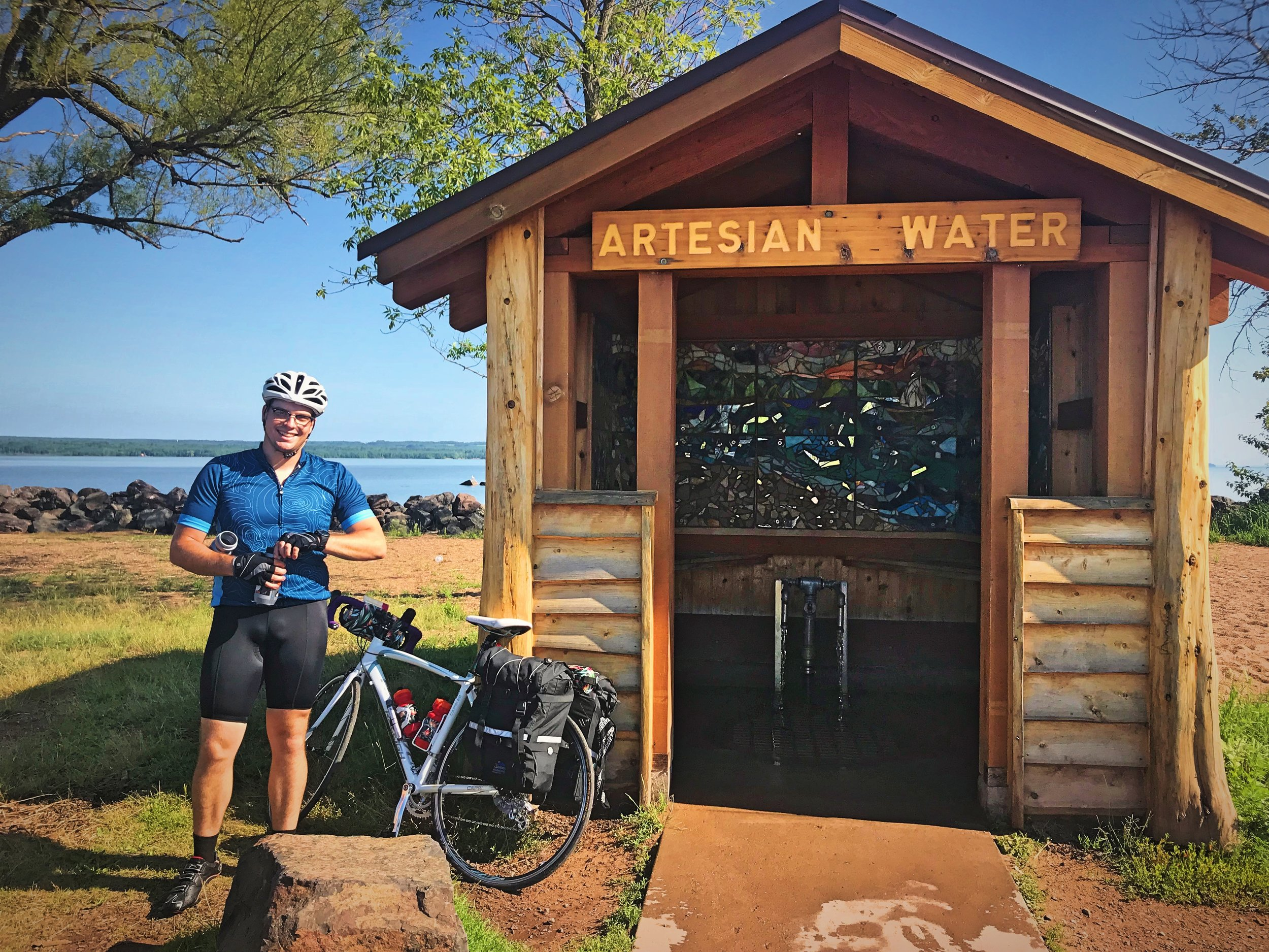 We stopped to fill our water bottles from the Artesian Well at Maslowski Beach in Ashland, WI.