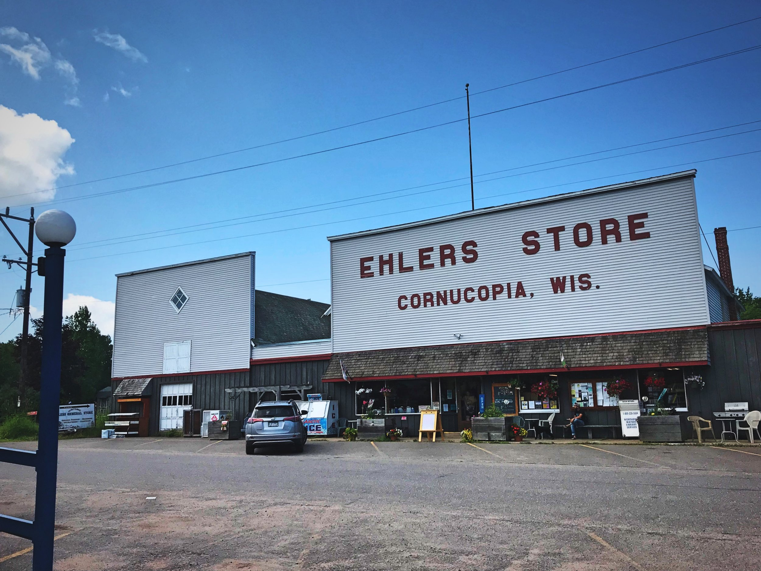 Ehlers Store is a favorite stop for visitors to downtown Cornucopia, Wisconsin.