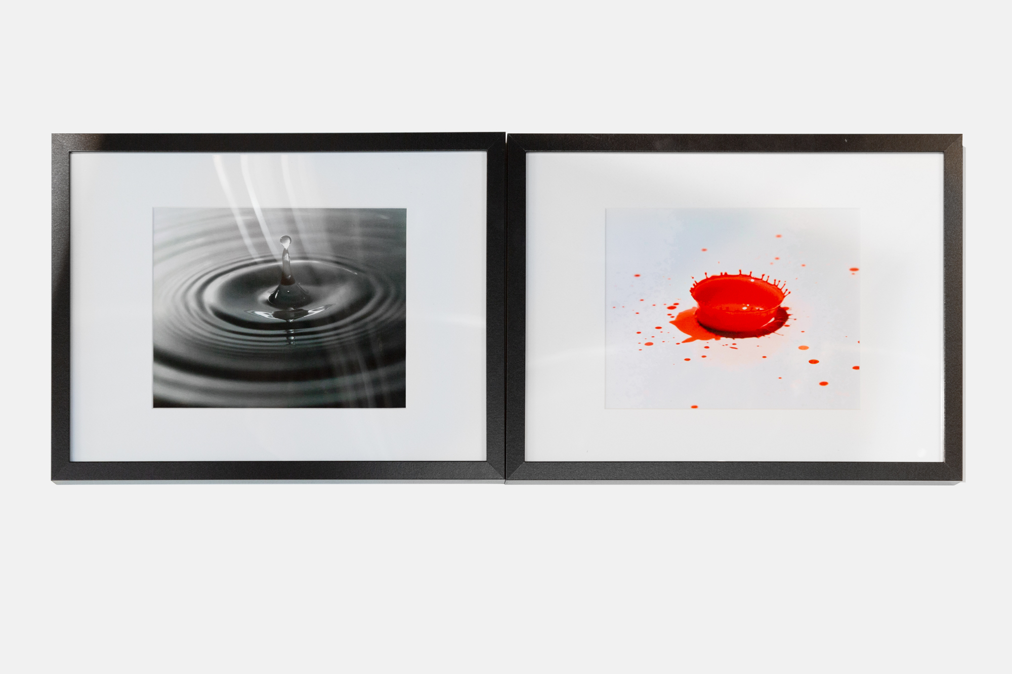 Water Drop  photograph, 2018   Paint Drop  photograph, 2018  installation photo by Mel Carter